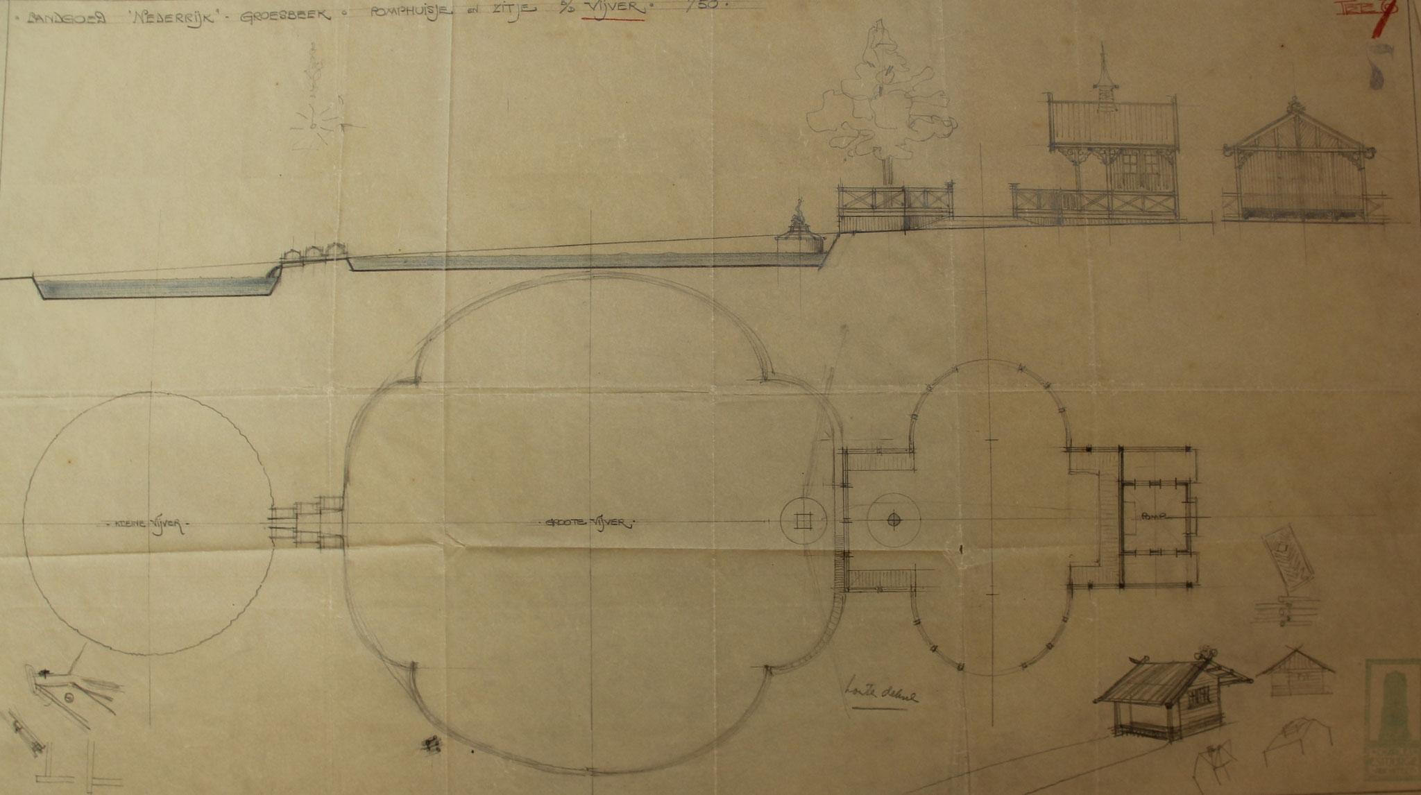 Ontwerp voor een vijver met prieel en pomphuis voor landgoed Nederrijk, Charles Estourgie (Het Archief Nijmegen)