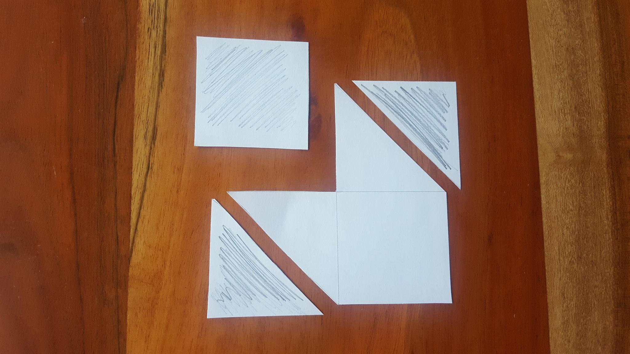 Die beiden äußeren Vierecke halbiert
