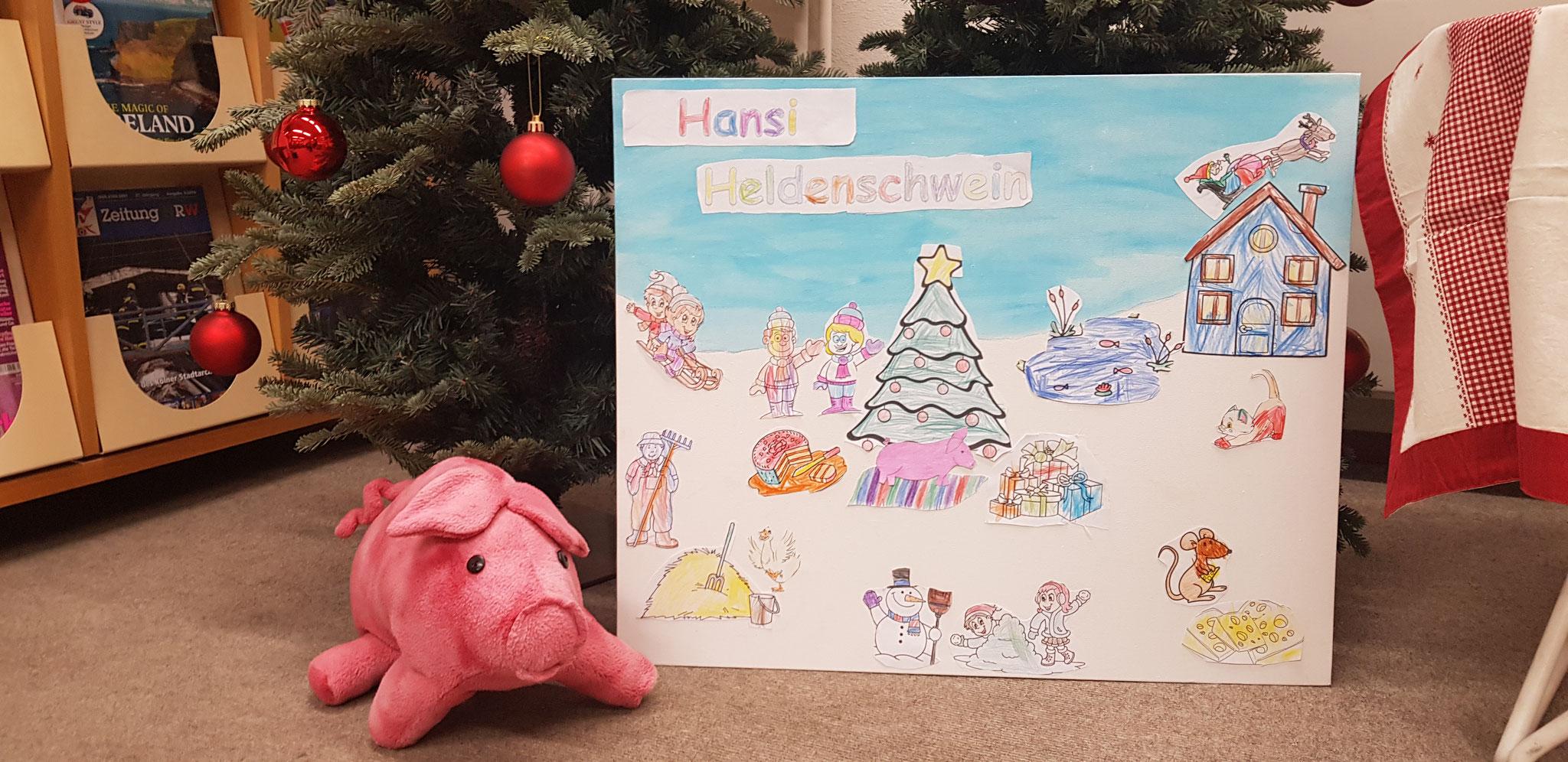 Das fertige Weihnachtsbild mit Hansi