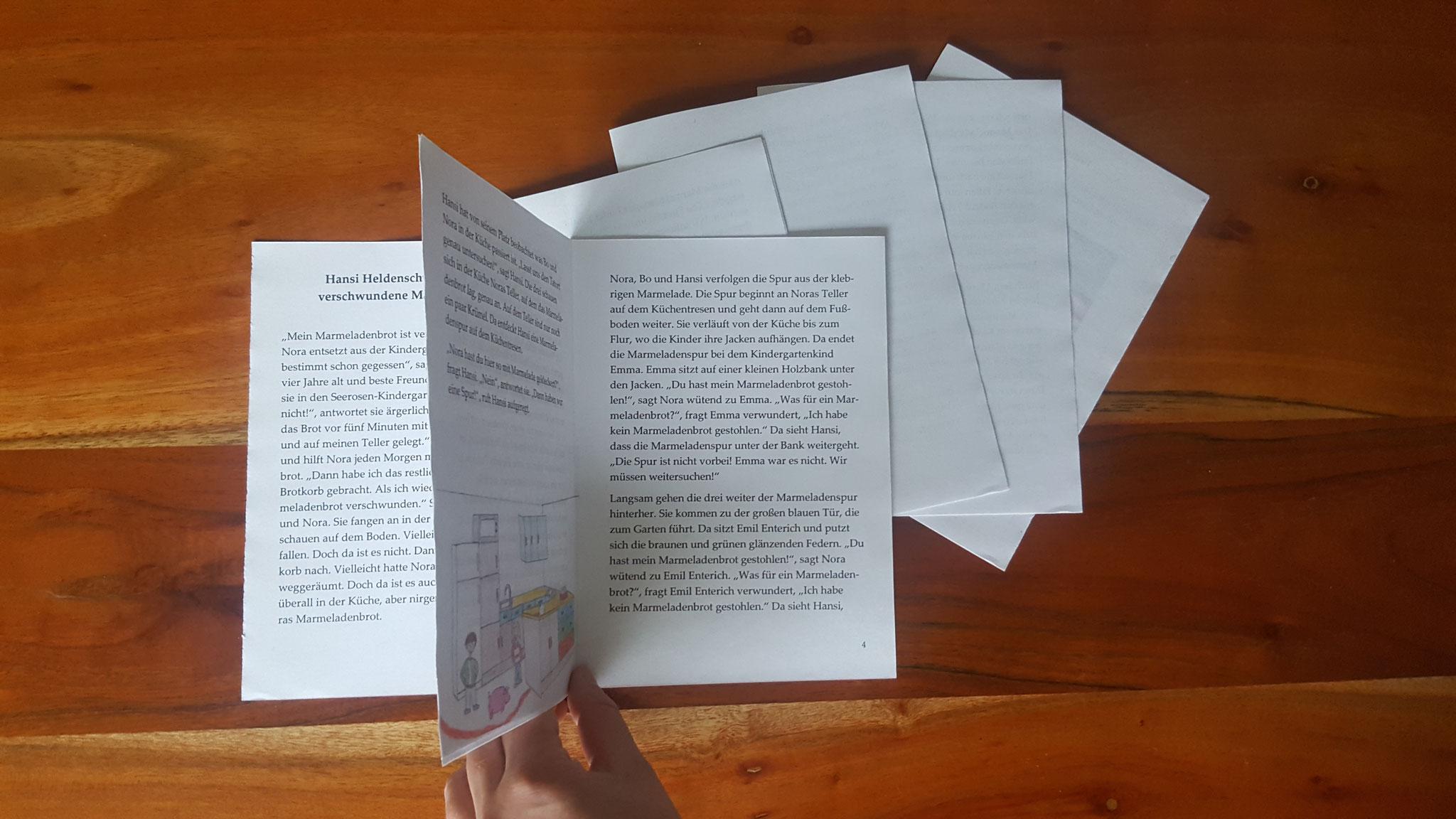Erste und zweite Din A4 Seite zusammengeklebt