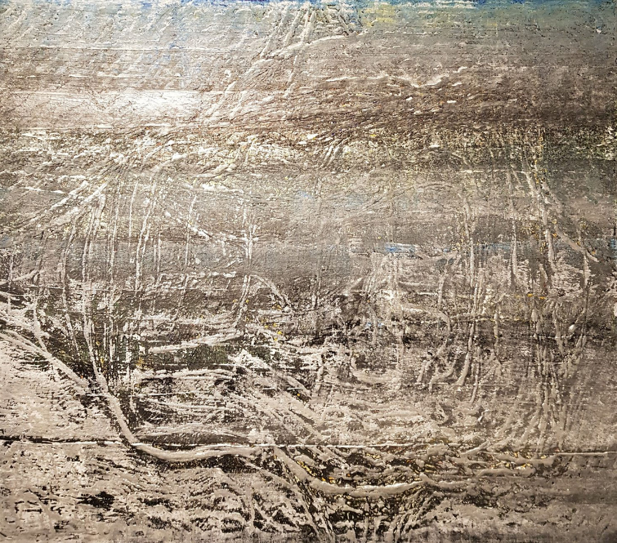 """1.2., """"Connected""""-Gemälde des Schönefelder Malers Hans-Jürgen Uekötter, A18"""