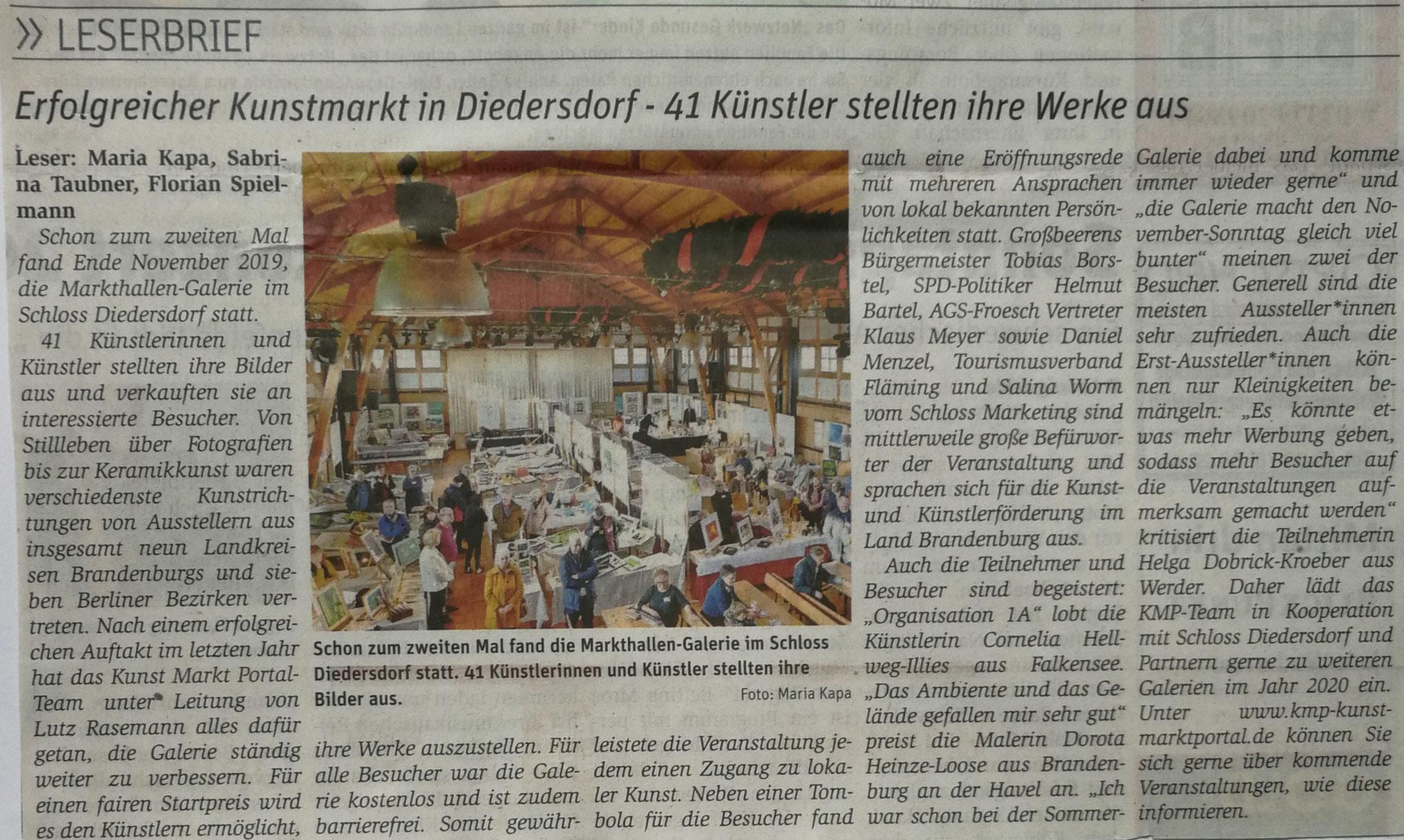 """""""BlickPunkt""""-Leserbrief, 11. Januar 2020"""