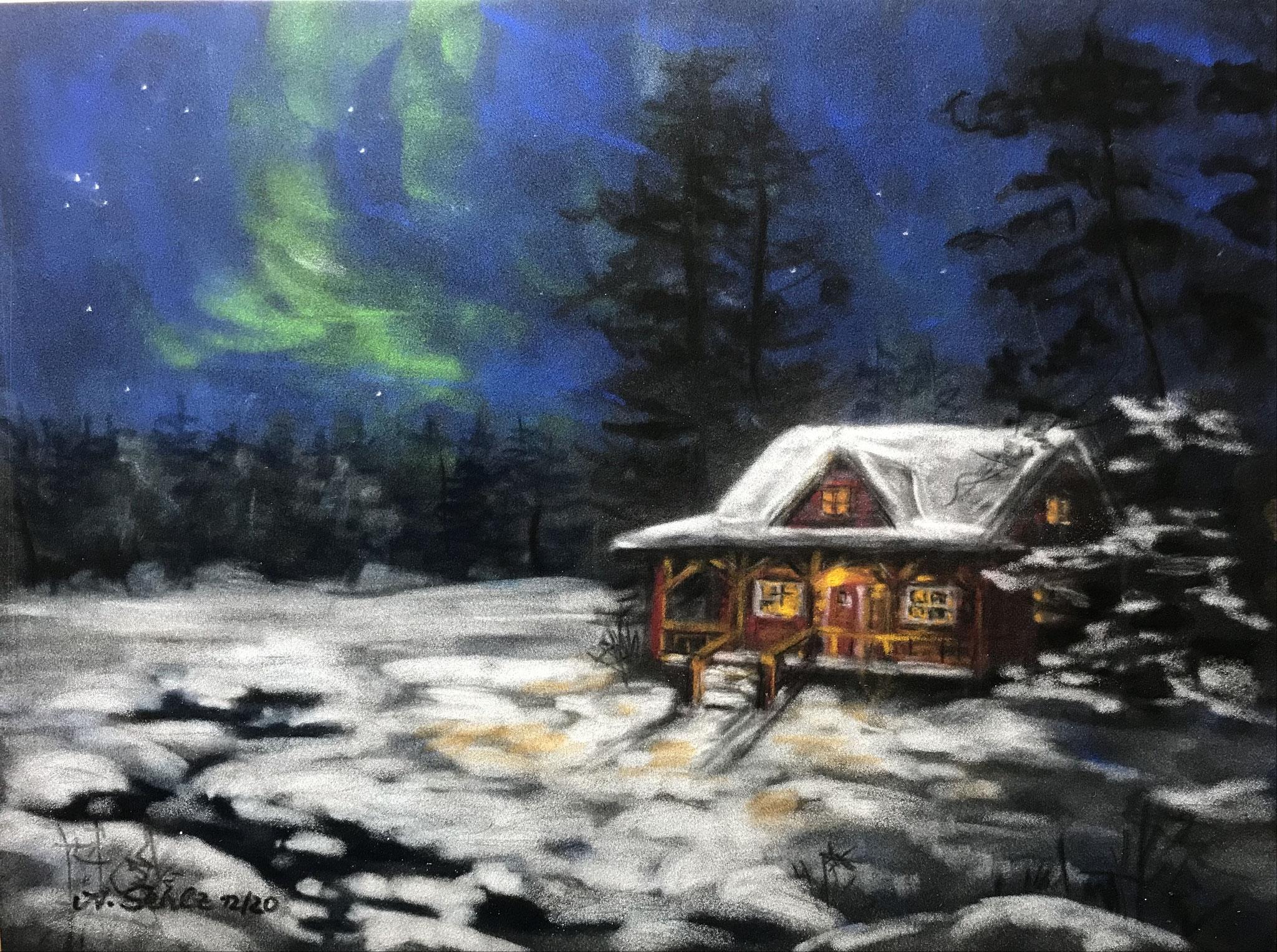 """30.12., """"Winter im Norden"""" - Gemälde von Annette Sehlz, Am Mellensee, A39"""
