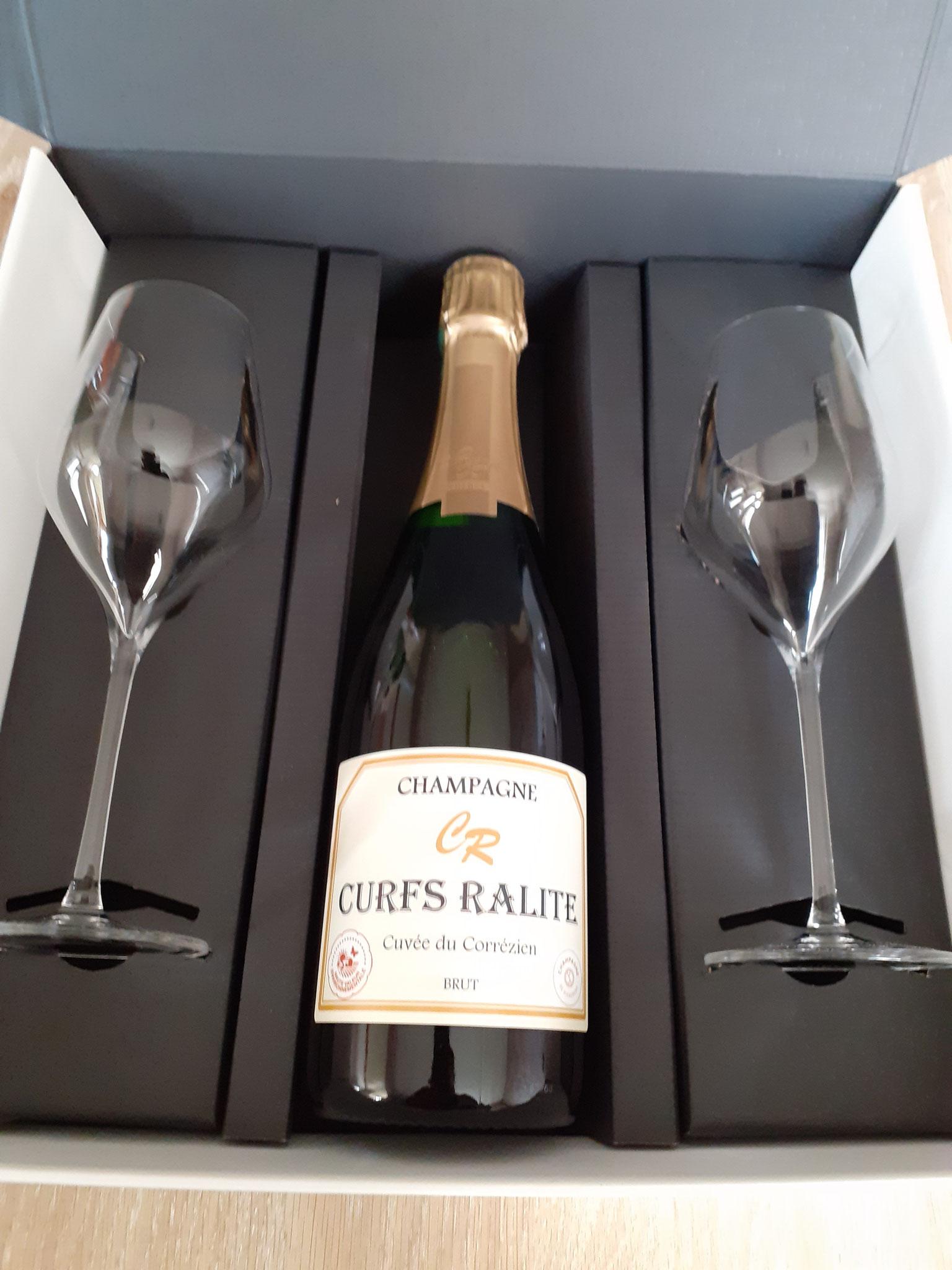 Coffret 1 bouteille de champagne brut Cuvée du Corrézien et 2 flûtes