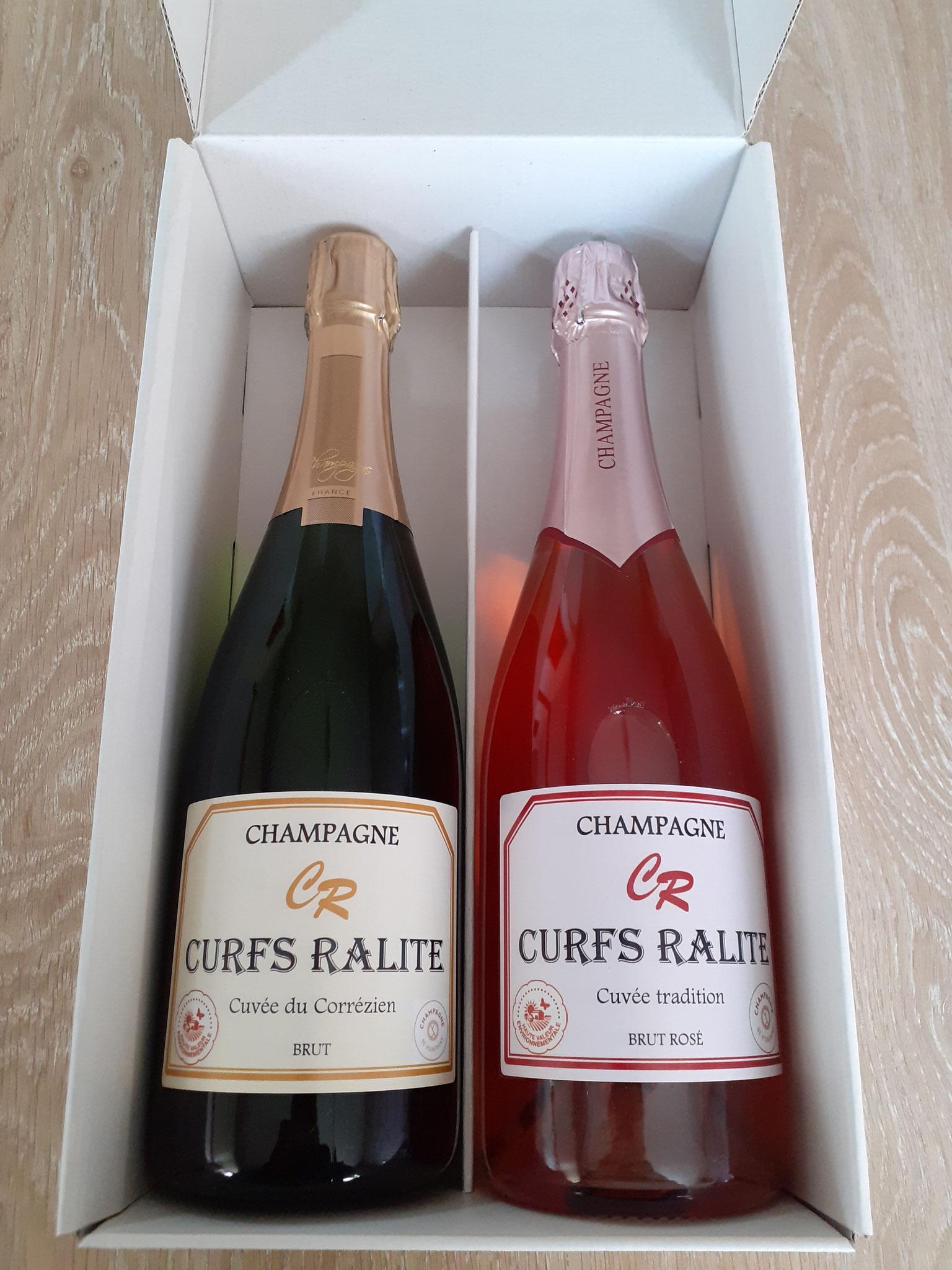 Coffret champagne brut et rosé