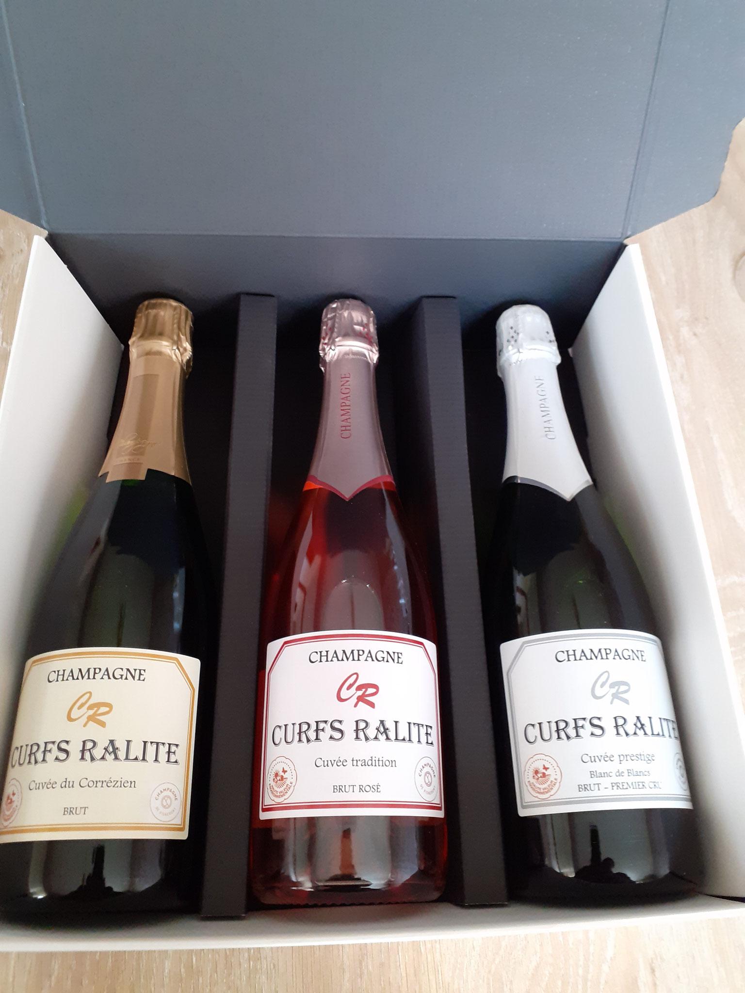 Coffret 3 bouteilles : brut, rosé et prestige