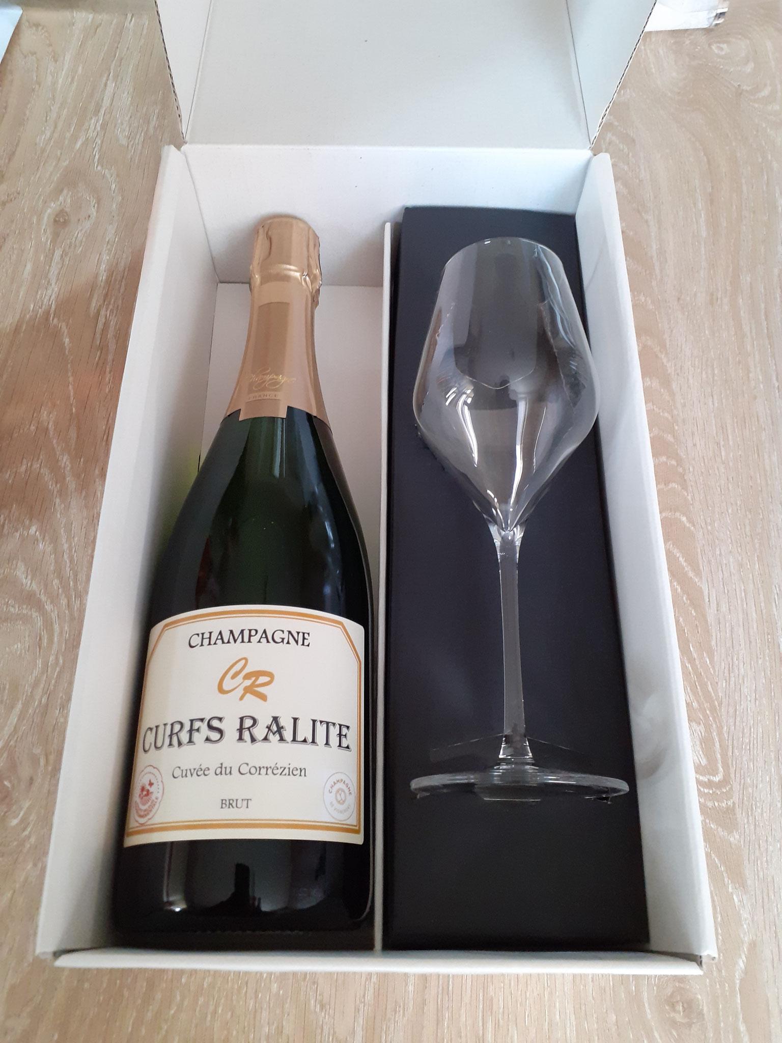 Coffret 1 bouteille champagne brut + 1 flûte