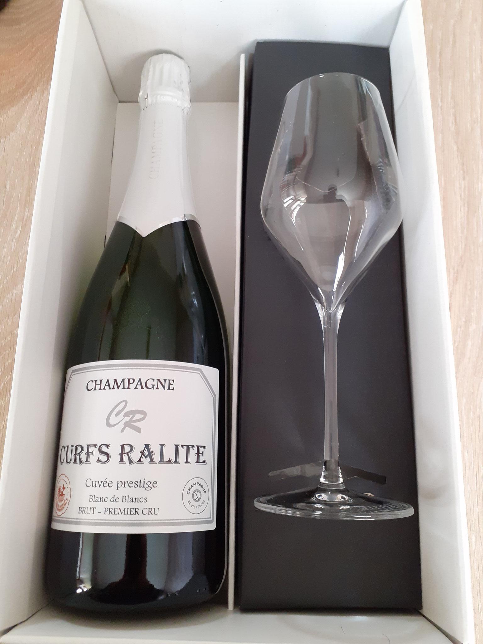 Coffret 1 bouteille de champagne prestige + 1 flûte