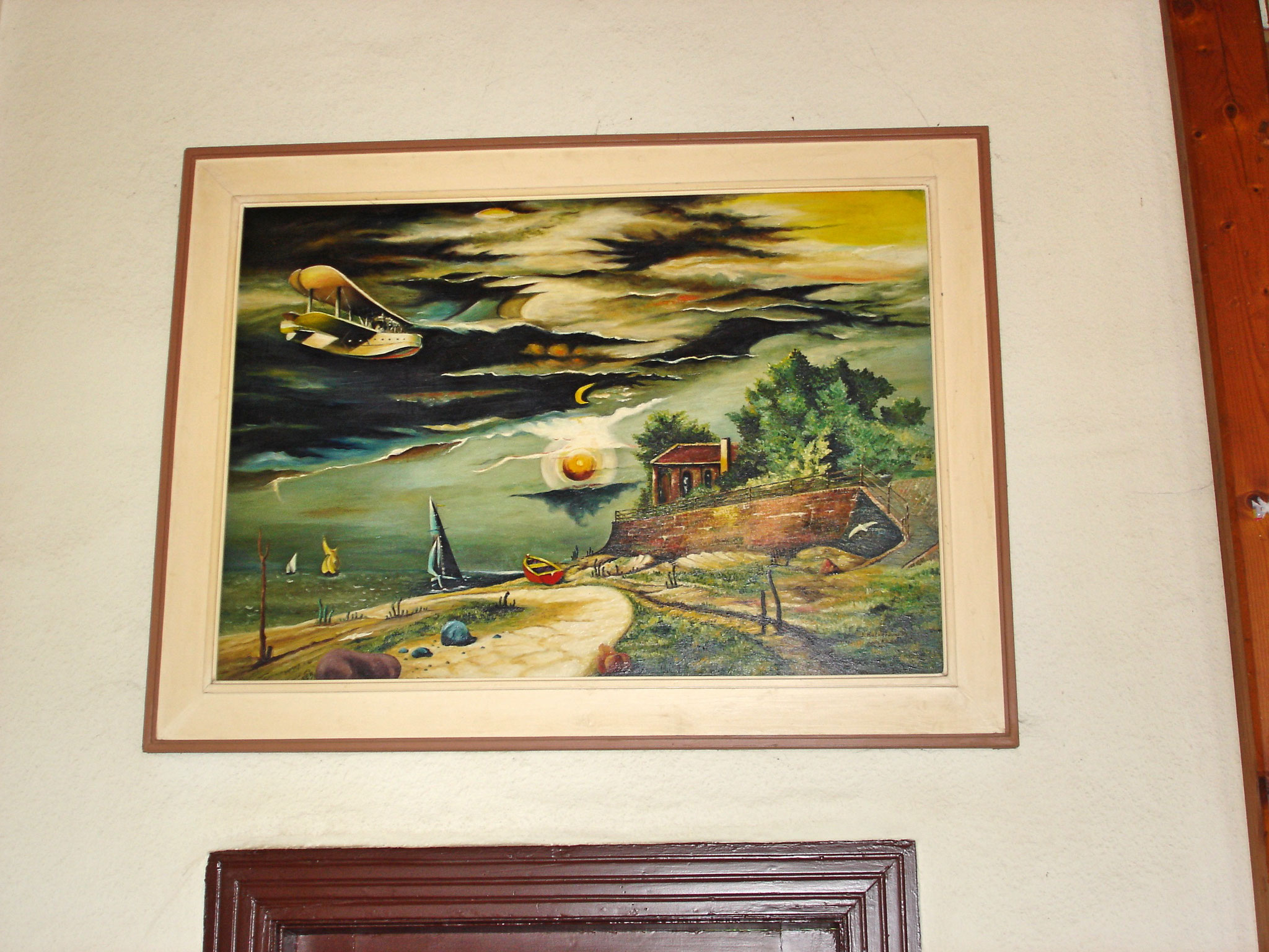 Franz Radziwill, Strand von Dangast mit Flugboot, Kurhaus Dangast