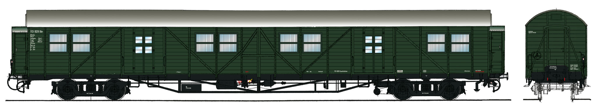 Spur 1 Gepäckwagen MPw4i-55, Epoche IIIb (Colorierung der Bestell-Nr. 16046)