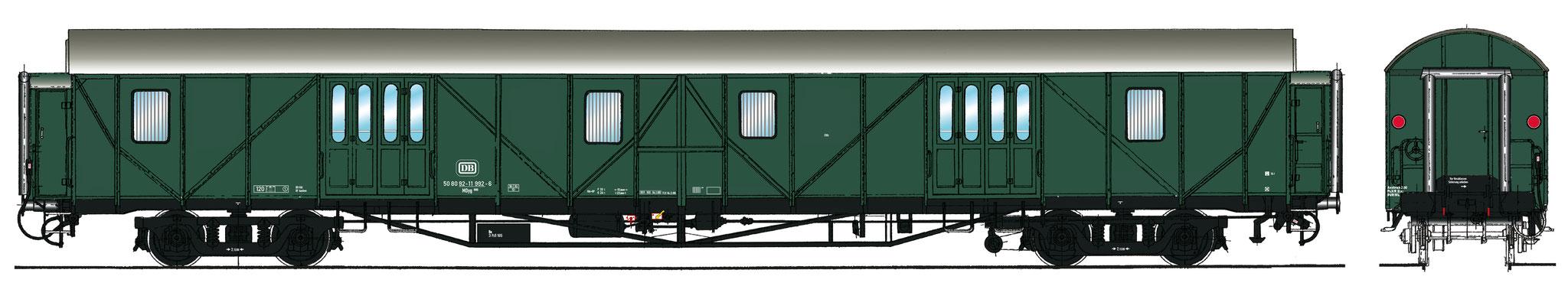 Spur 1 Gepäckwagen MDyg 986, Epoche IV (Colorierung der Bestell-Nr. 16049)