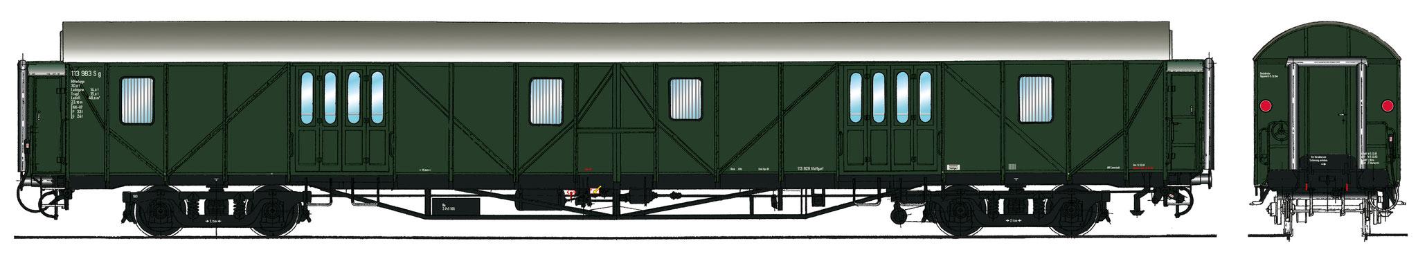 Spur 1 Gepäckwagen MPw4yg-57, Epoche IIIb (Colorierung der Bestell-Nr. 16047)