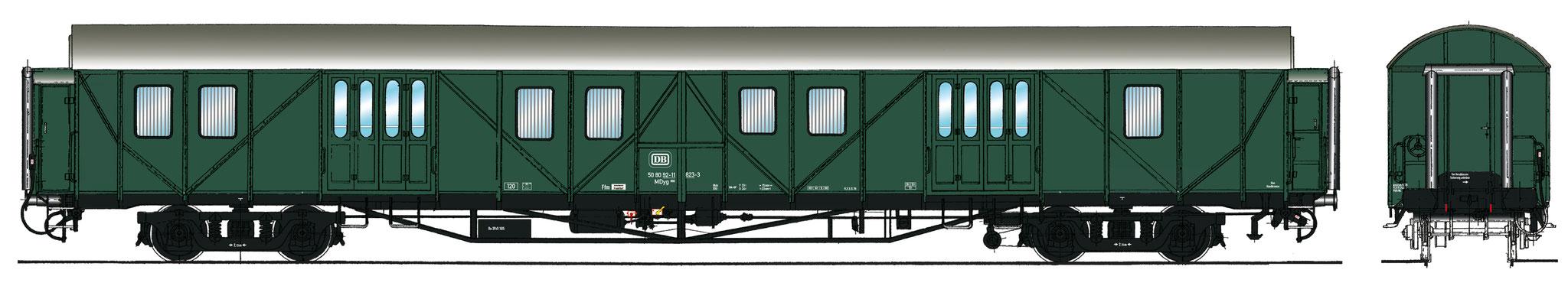 Spur 1 Gepäckwagen MDyg 986, Epoche IV (Colorierung der Bestell-Nr. 16050)