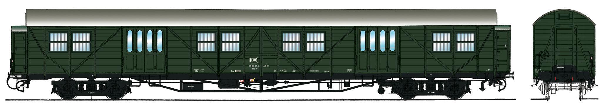 Spur 1 Gepäckwagen MDie 996, Epoche IV (Colorierung der Bestell-Nr. 16048)