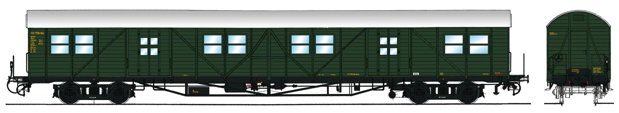 Spur 1 Gepäckwagen MPw4i-50, Epoche IIIa (Colorierung der Bestell-Nr. 16045)