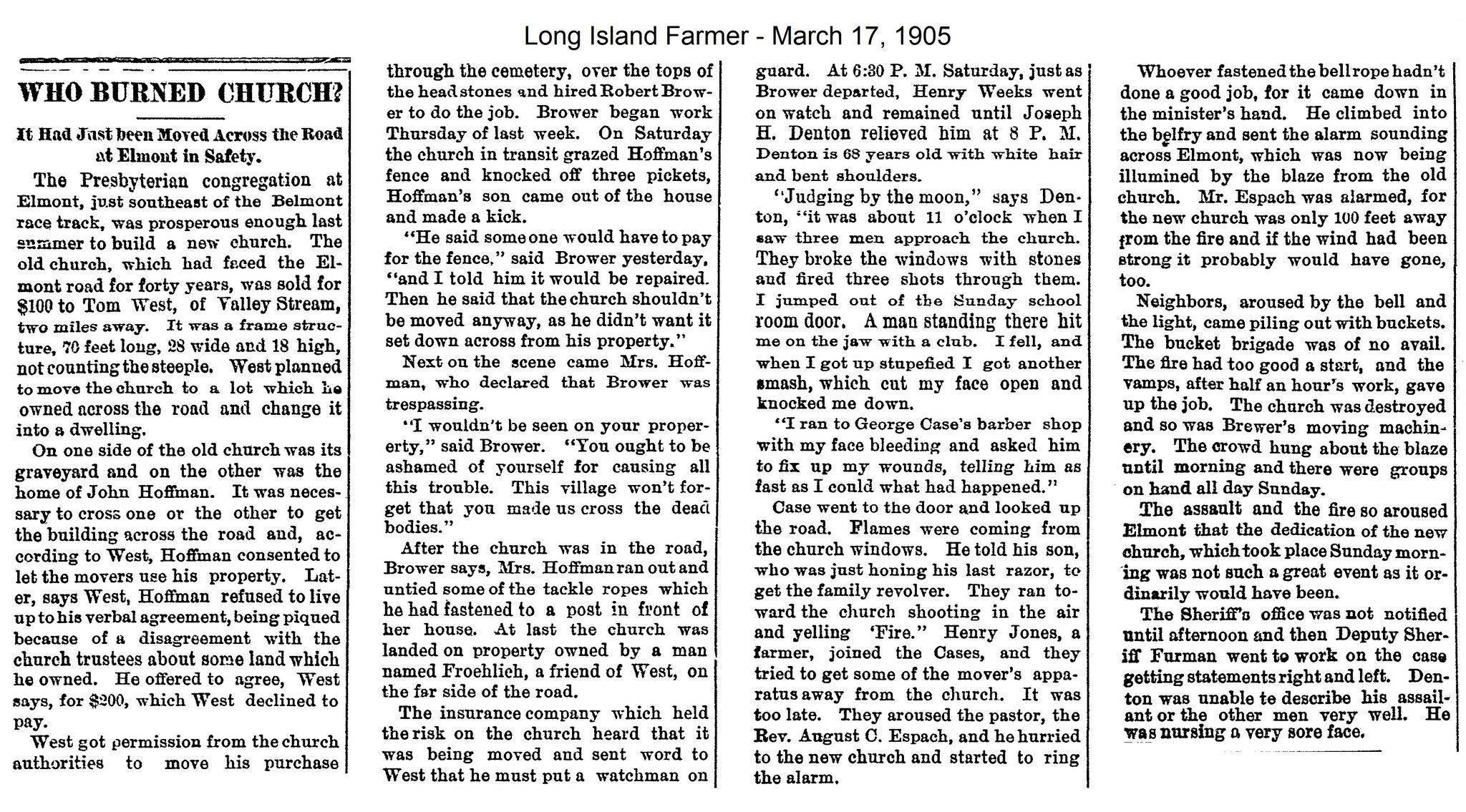 Long Islander Farmer - Who Burned Church ? -  March 17, 1905