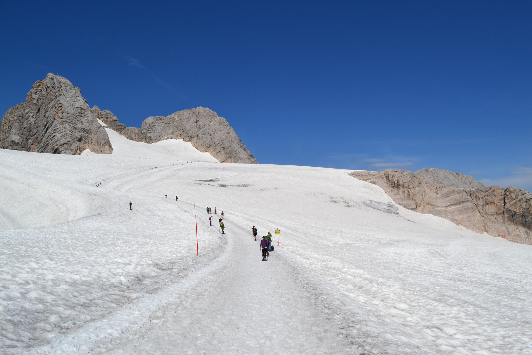 Hiking path on the glacier