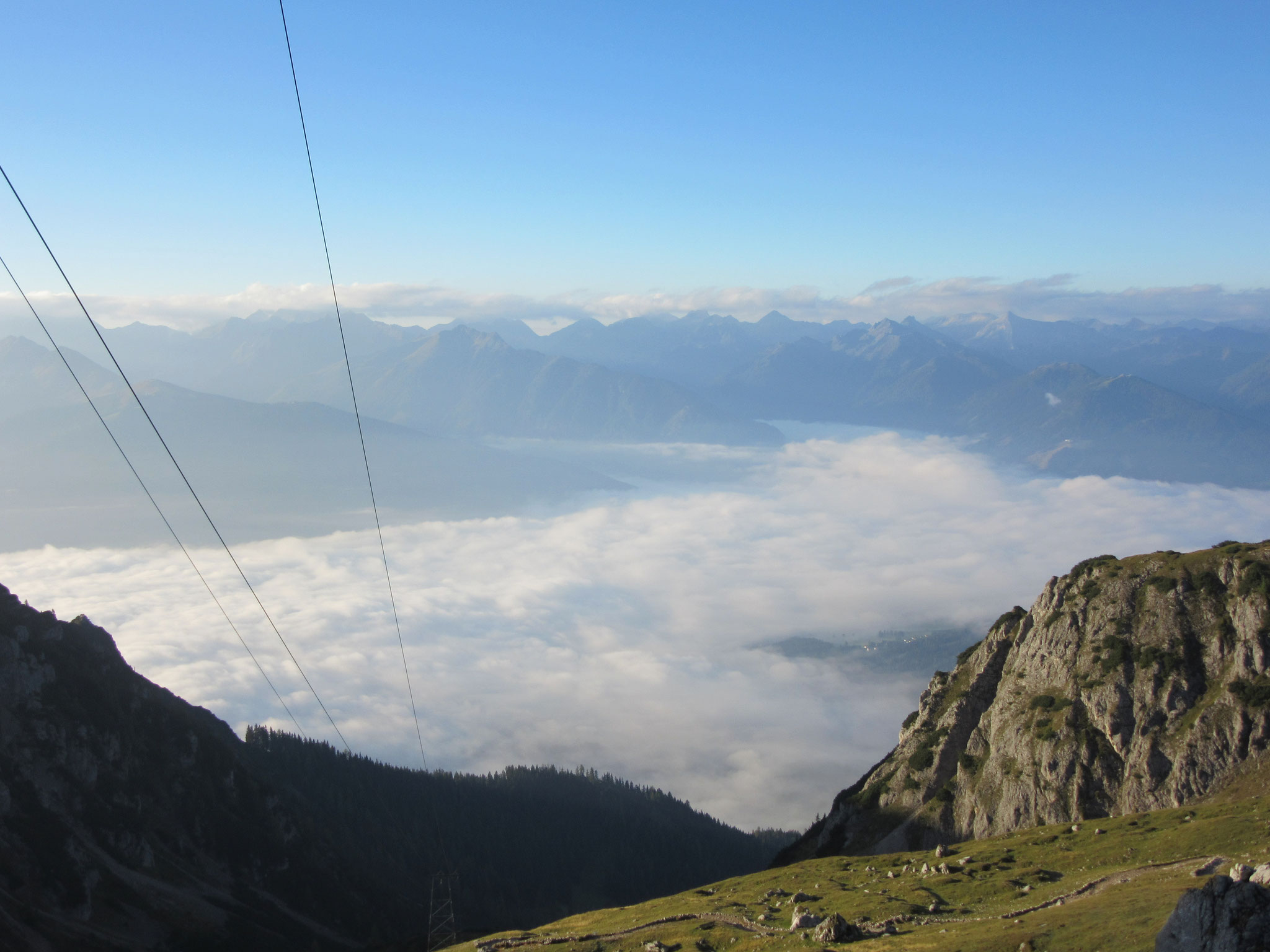 Early morning view from the Guttenberghaus - Ramsau under cloud