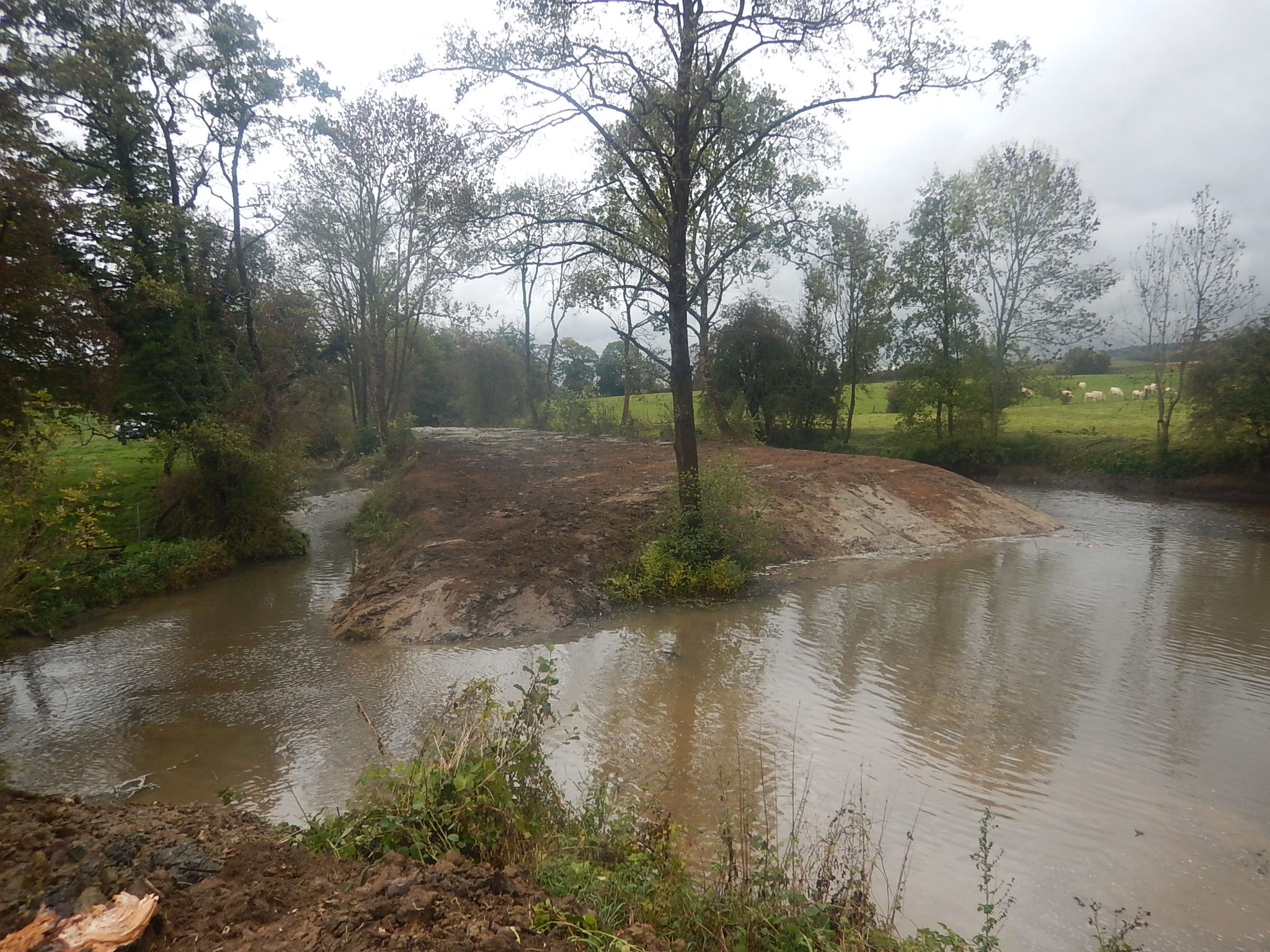 Rétablissement des écoulements au niveau des deux bras de la rivière.
