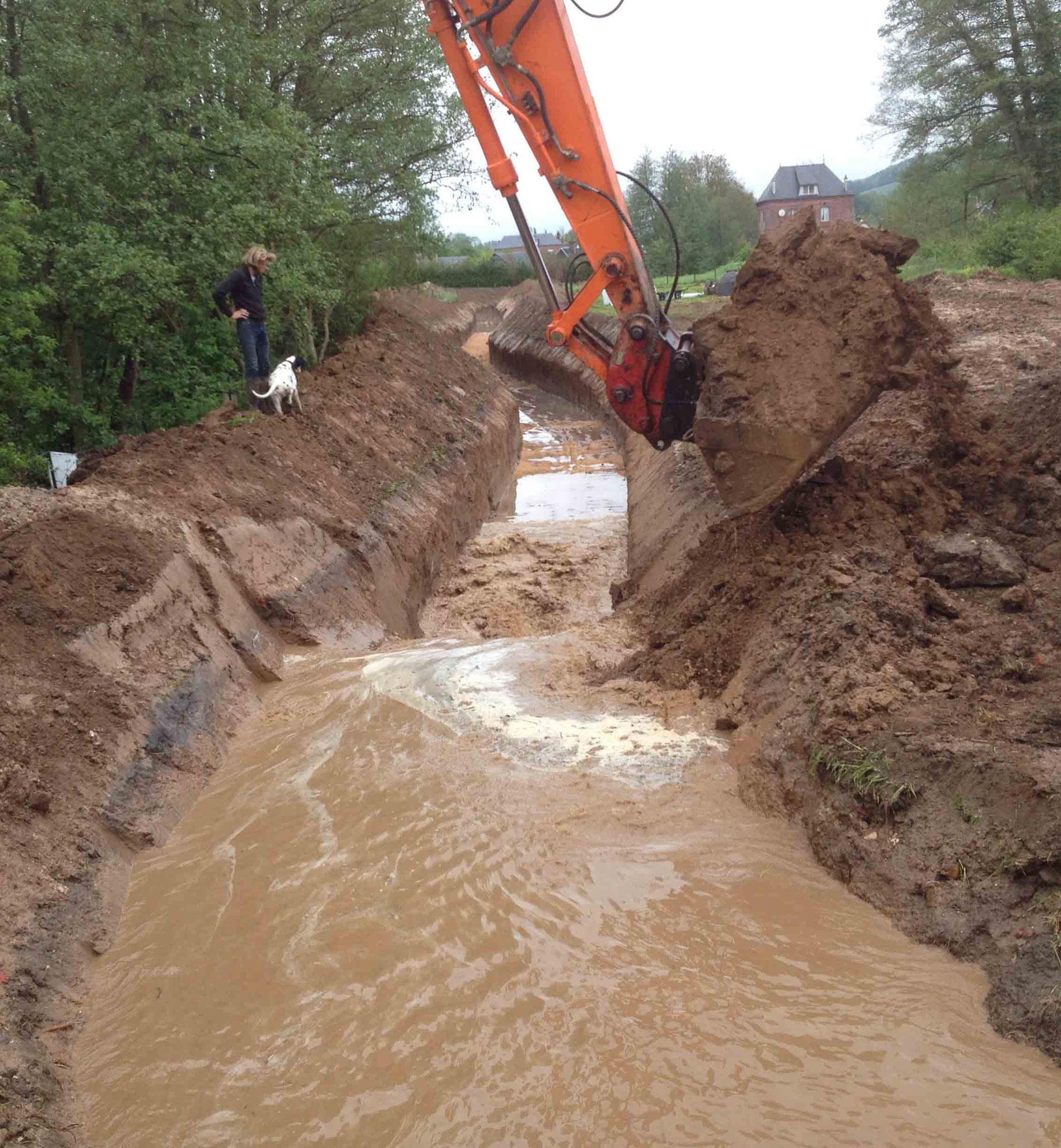 Mise en eau du canal provisoire
