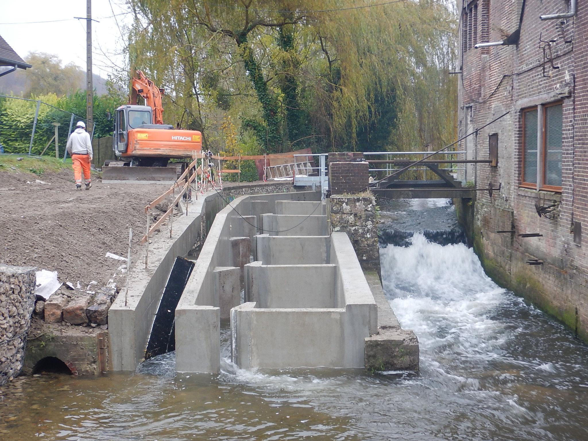 Mise en eau de la passe à bassins et de la rampe à anguilles