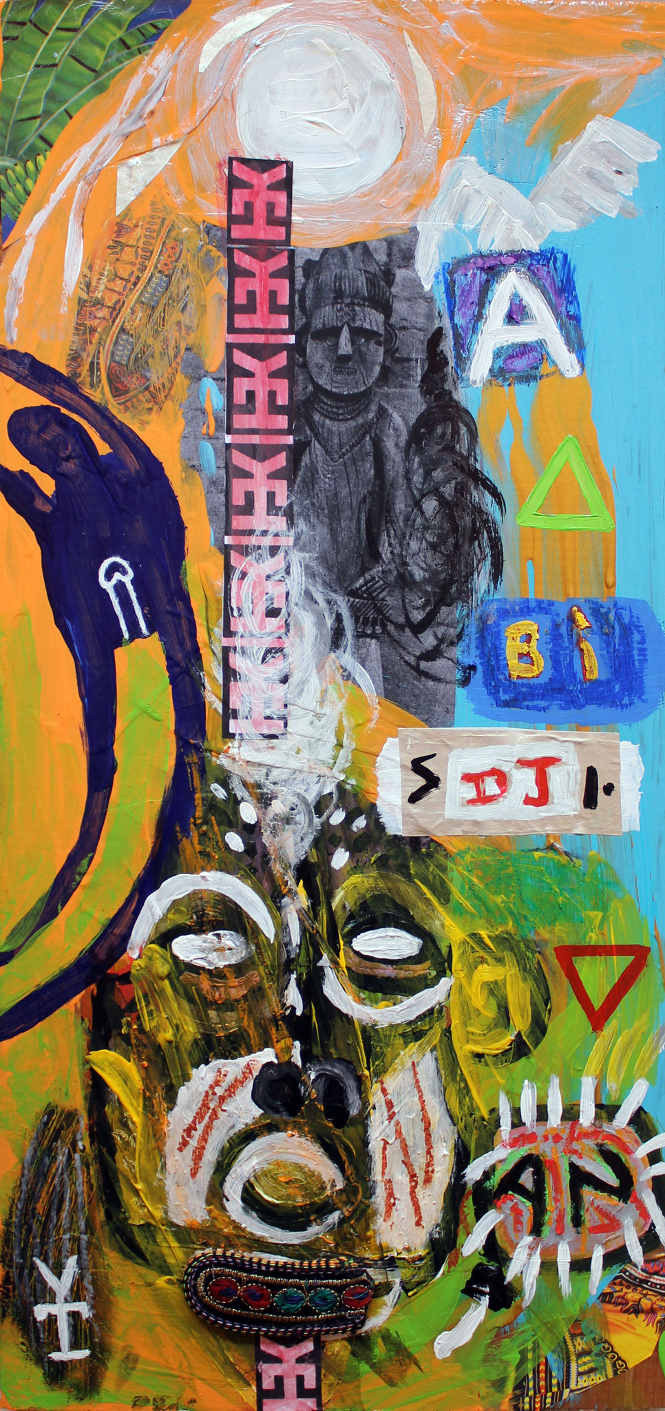 ABIDJAN- Acrylic and collage on wood- 11x23.5 inch - 2015
