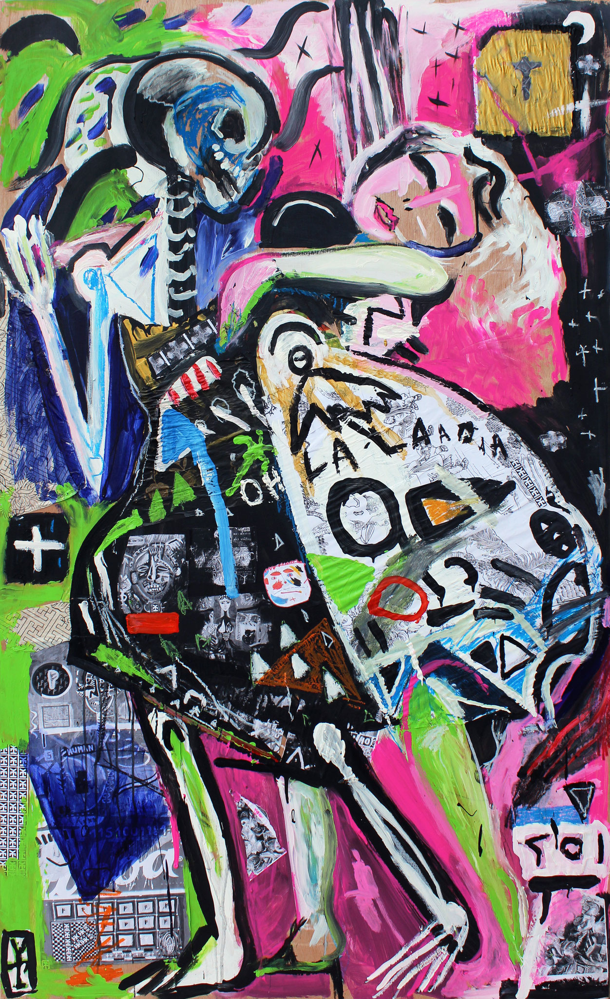 OH LA LA! - Acrylic, oil pastels and collage on wood - 36.5x72inch/ 2016