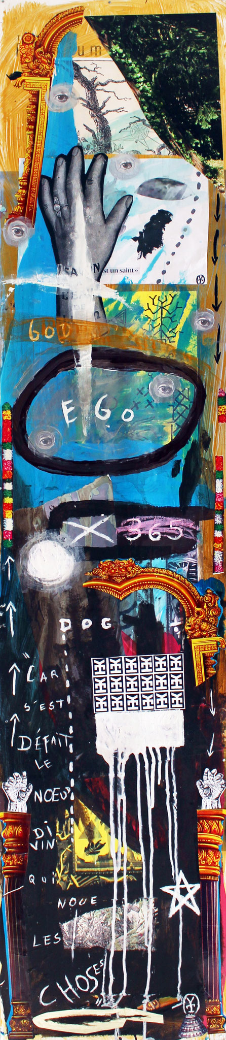 GOD EGO DOG/ Acrylic, collage on plastic -11.5x58 inch/ 2015