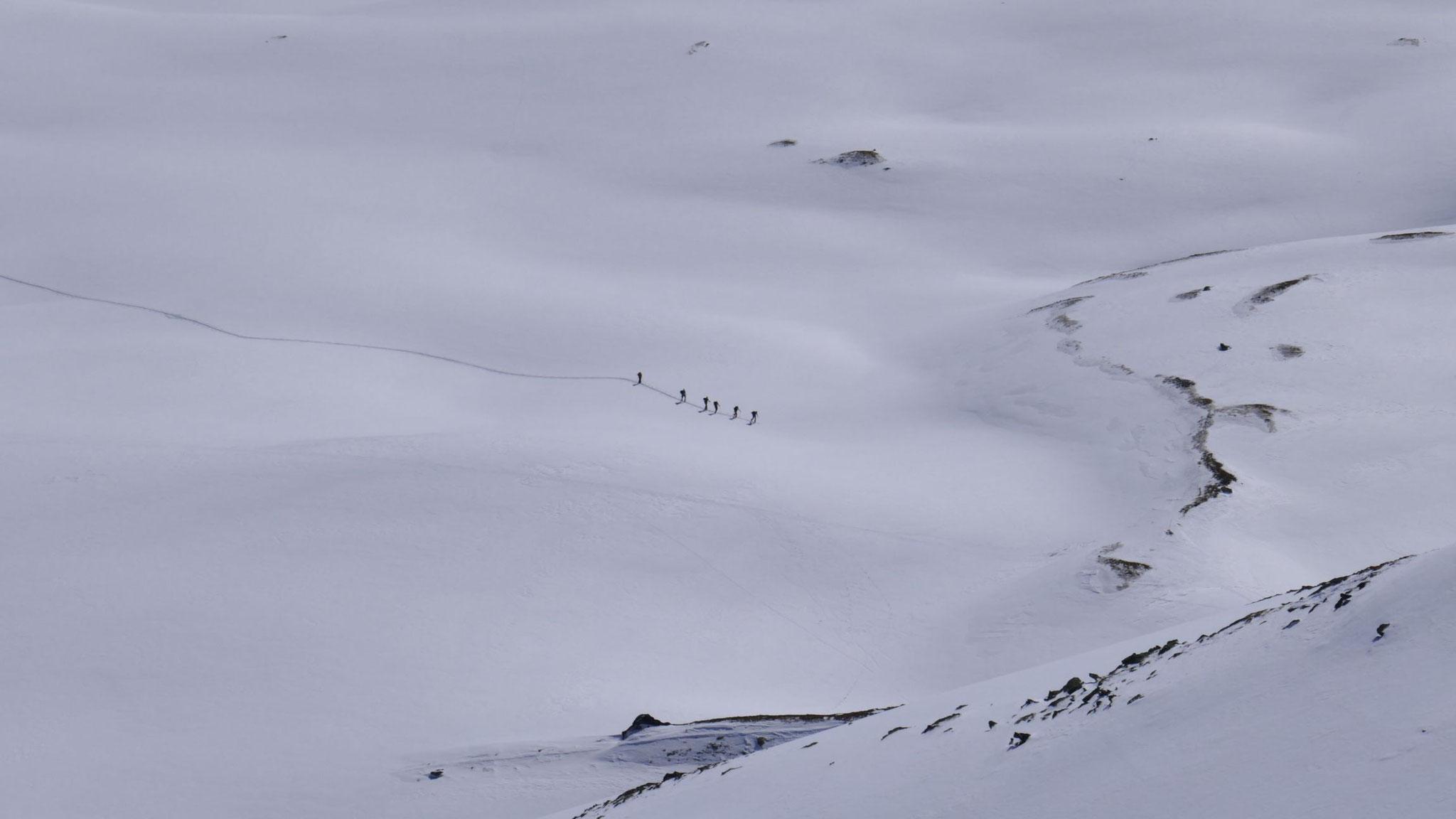 Gruppe im Aufstieg von der Potsdamer Hütte