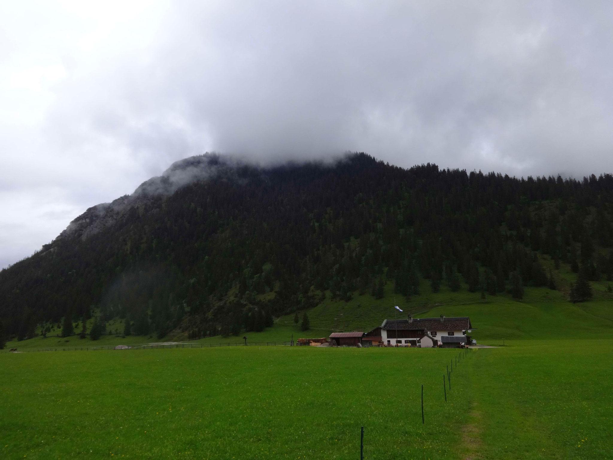 ...bis zum Almgasthof Esterberg. Im Hintergrund ist der Hohe Fricken verdeckt.