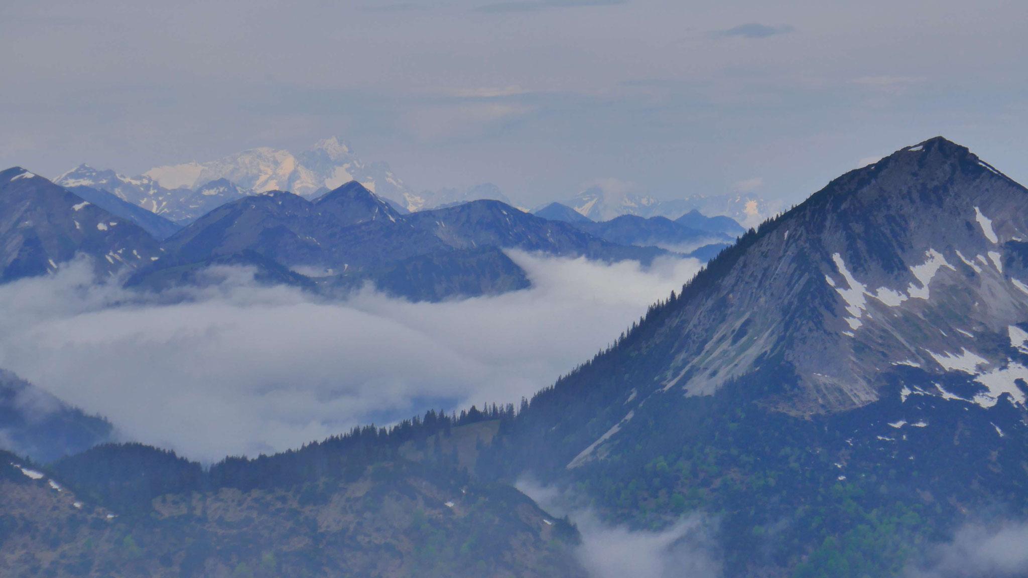Halserspitze und am Horizont die sonnenbeschienene Zugspitze
