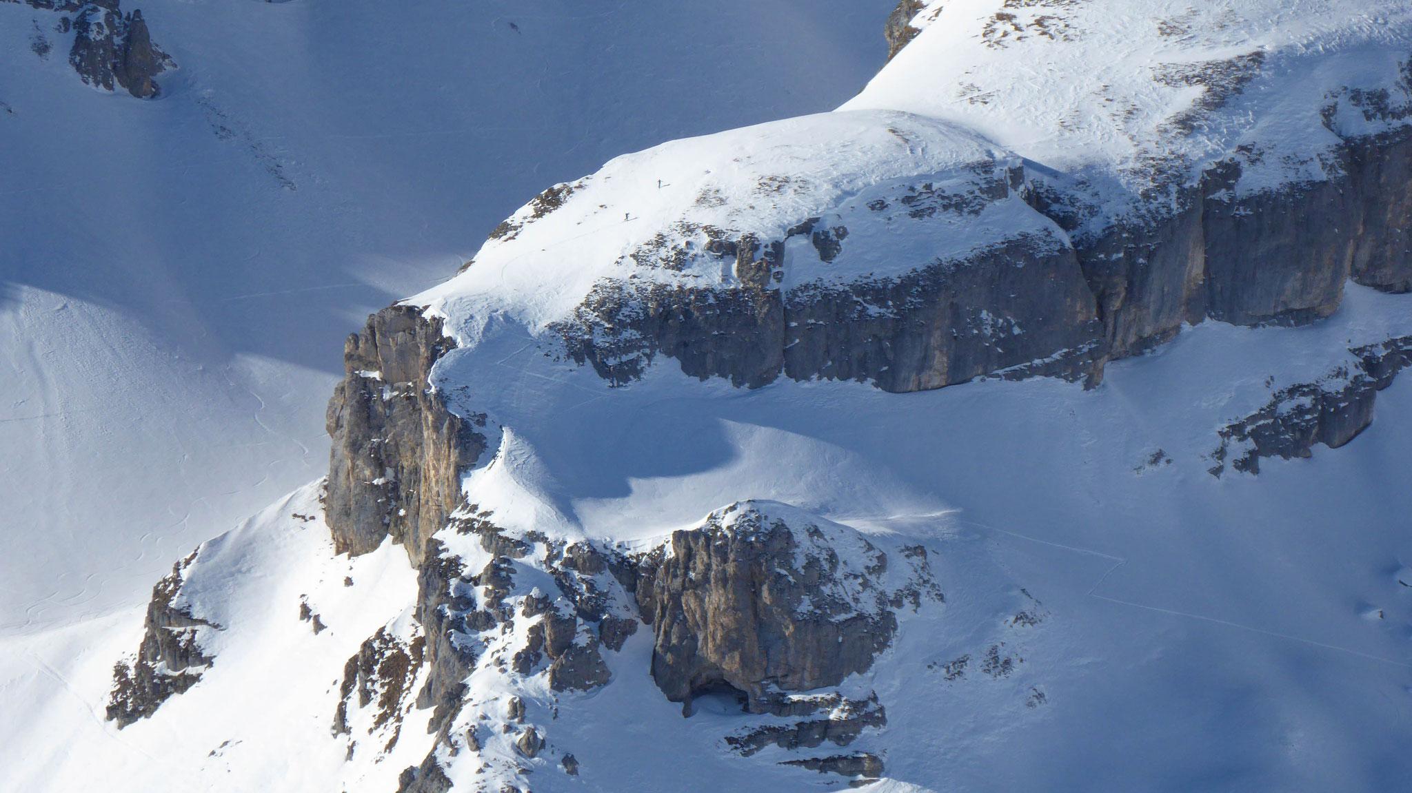 Steilpassage auf der Kugelwand zur Kesselspitze