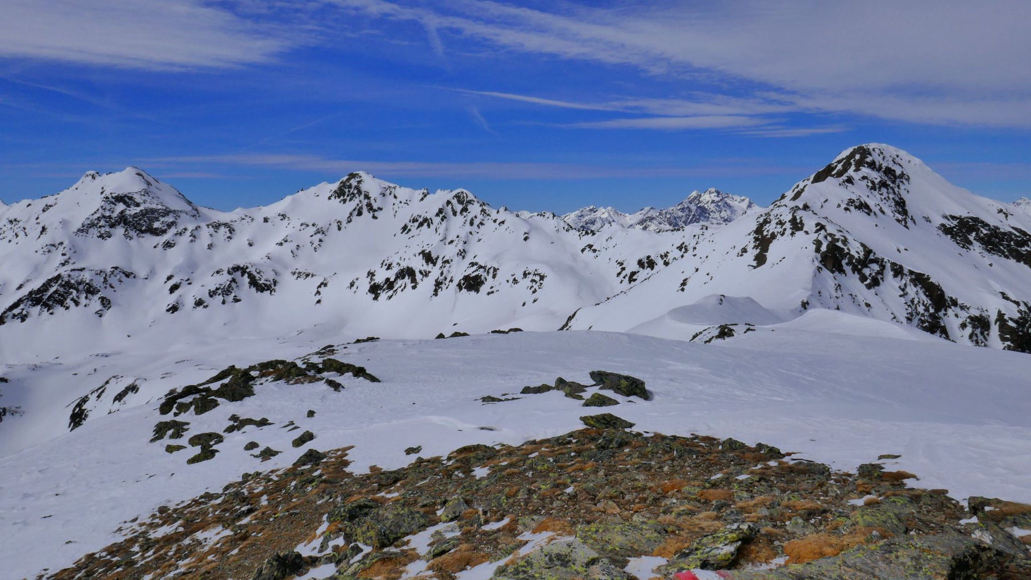 Blankakopf - Glockspitze - Kübelgrubenkopf; am Horizont Hoher Riffler