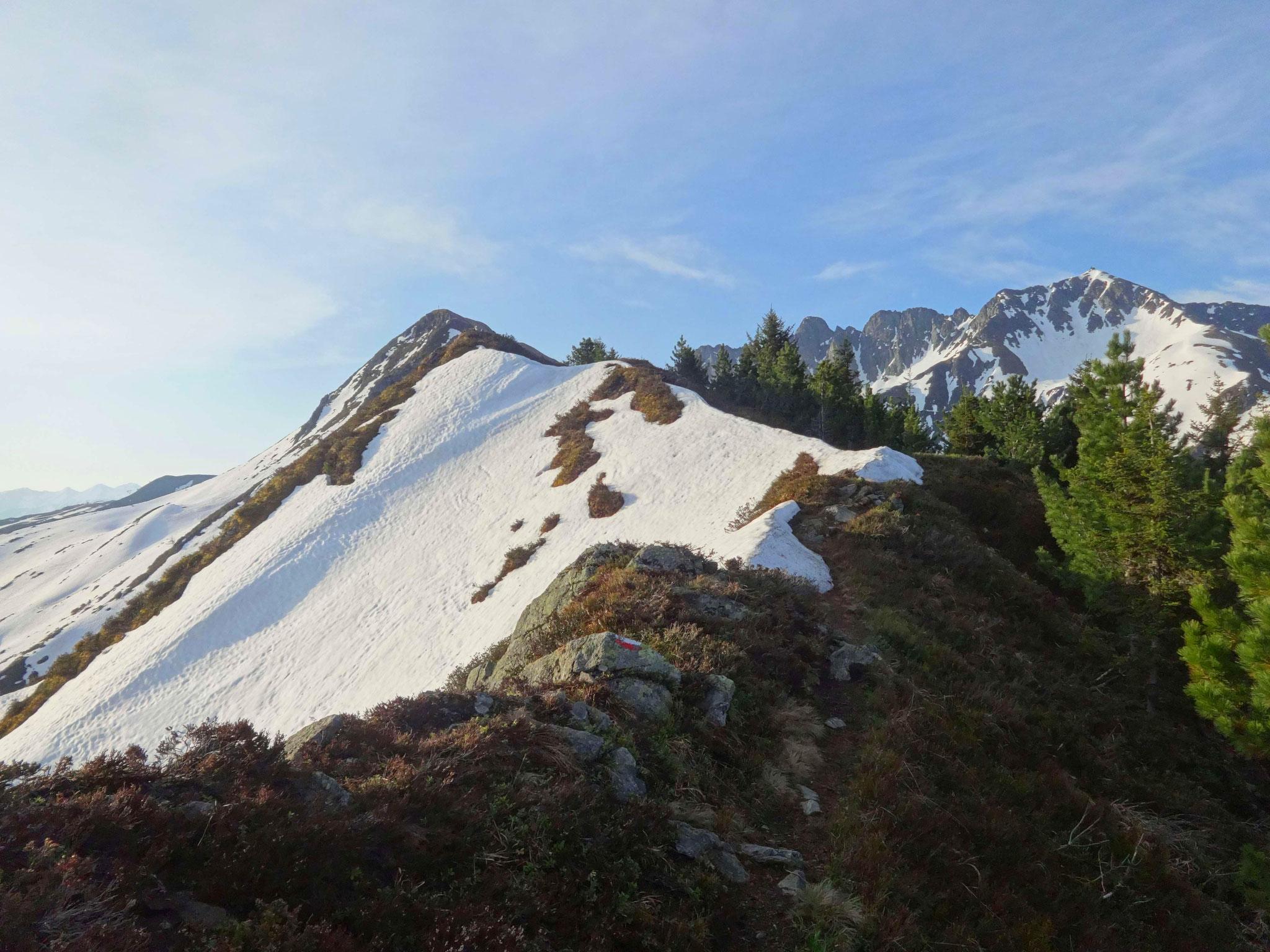 Wir halten uns auf dem breiten, nie wirklich ausgesetzten Weg Richtung Gipfelziel...