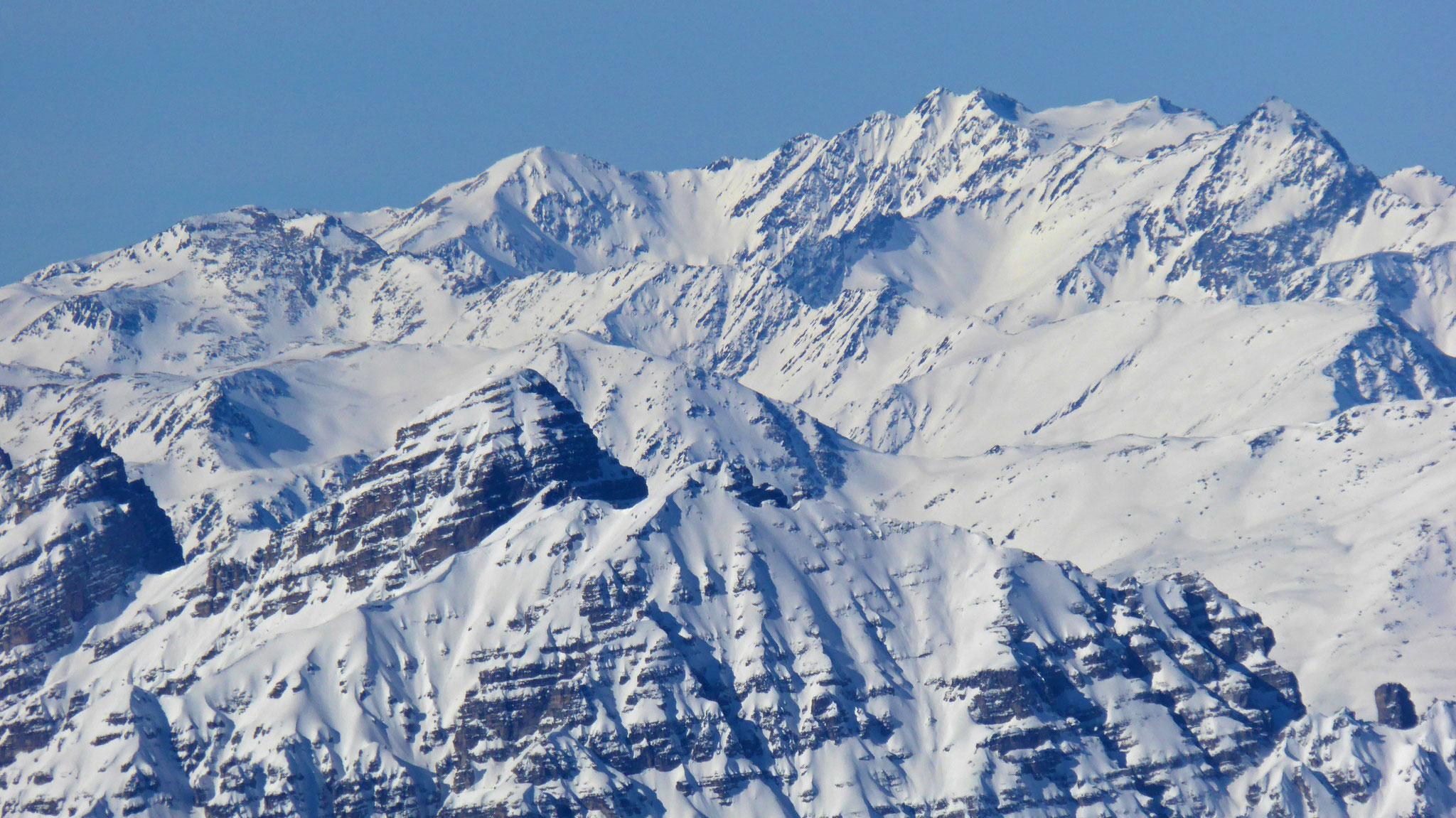 Serles vor Hinterem Daunkopf, Ruderhofspitze und Östl. Seespitze