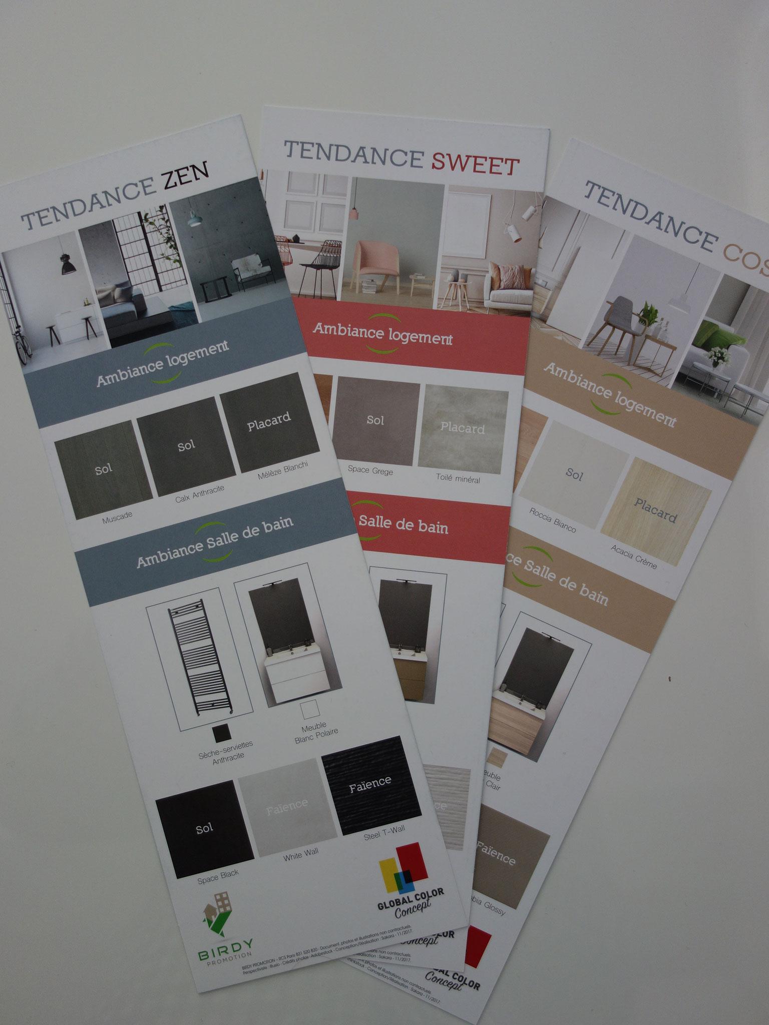 Création de 3 tendances : choix des matériaux, des couleurs et des plaquettes