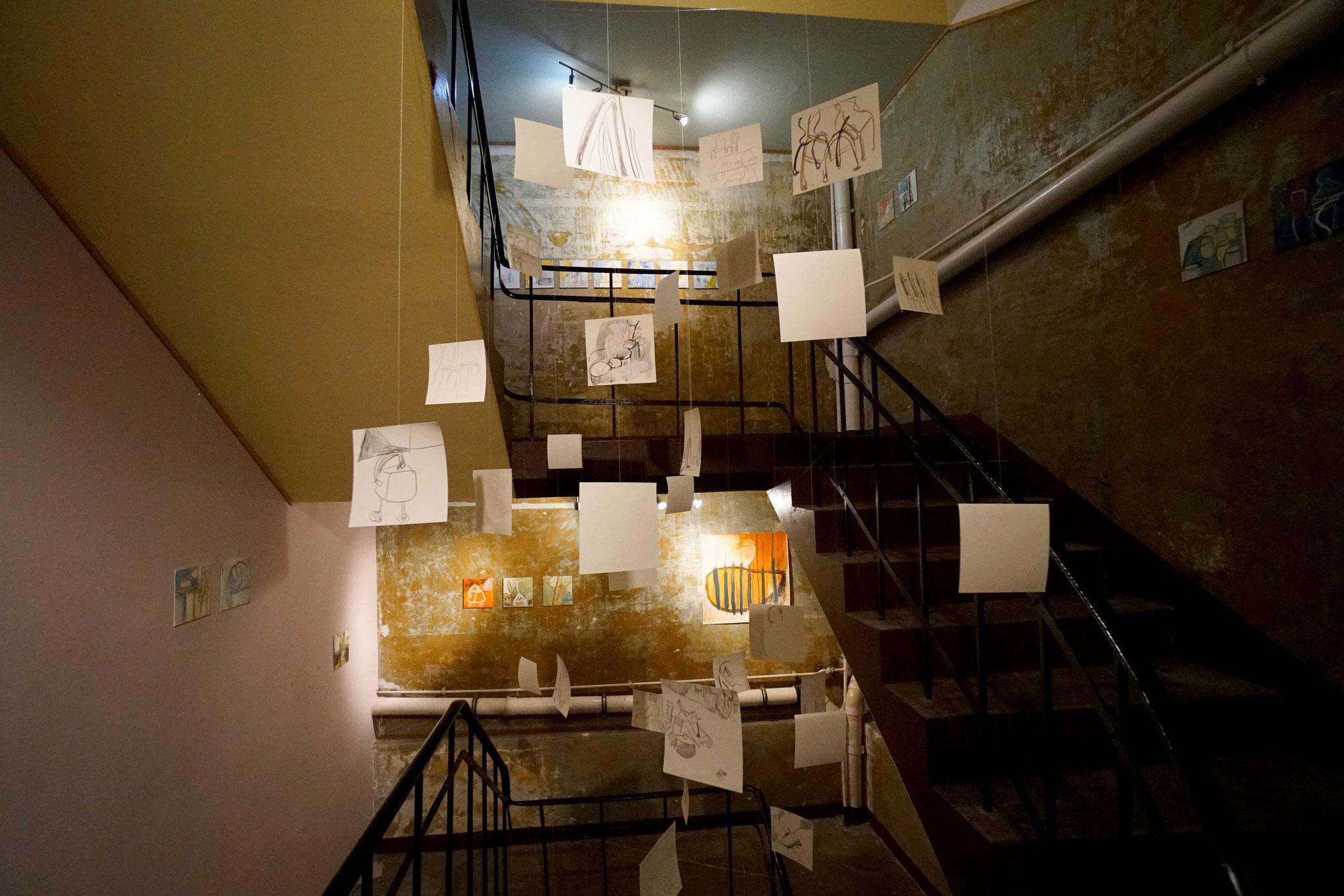 HIN gucken (2018) - treppenhausgalerie in der auto-kultur-werkstatt