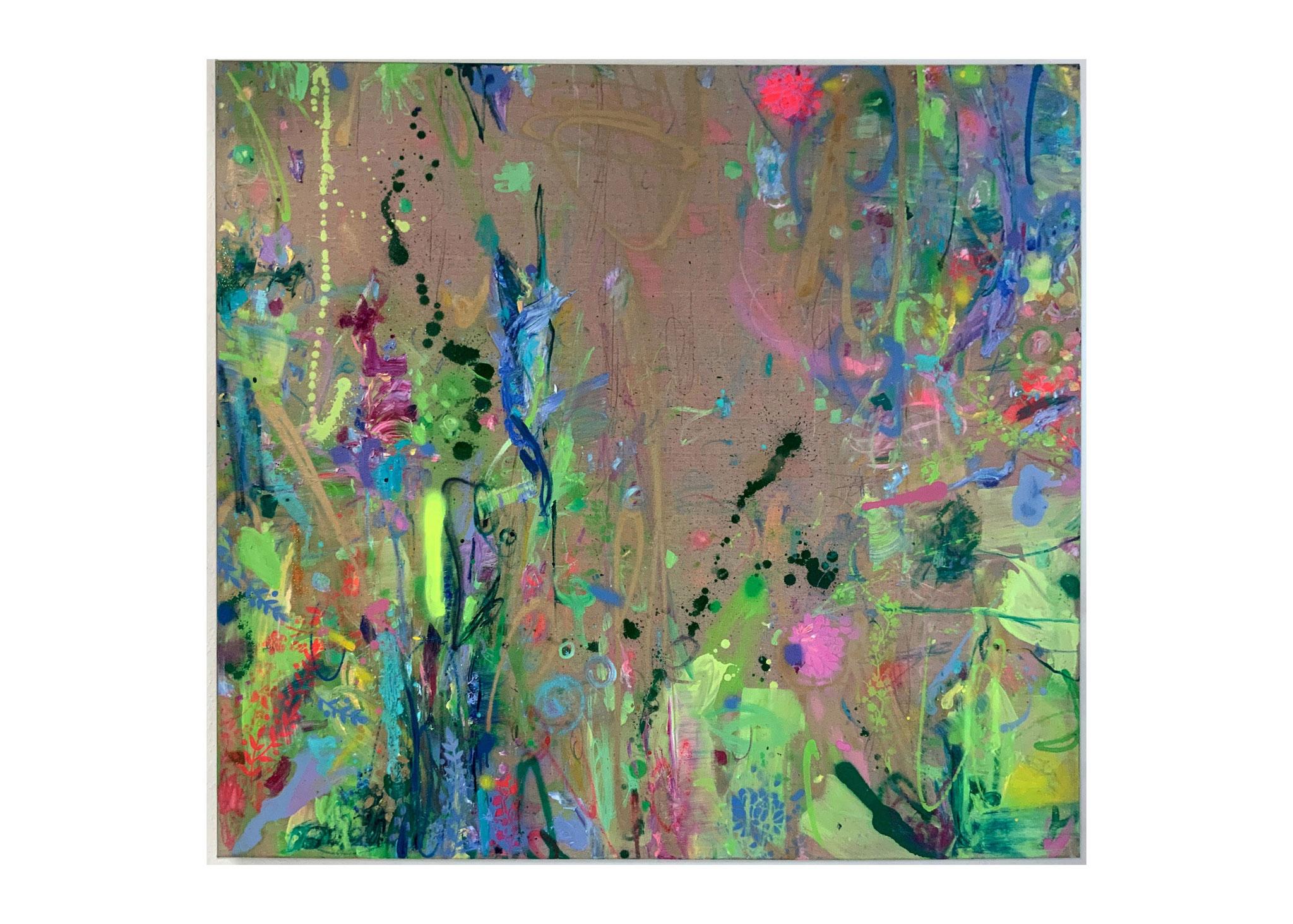 "Catherine Bourdon, ""Summertime Sadness"", 2021, Mischtechnik auf Leinwand, 130 x 130 cm"