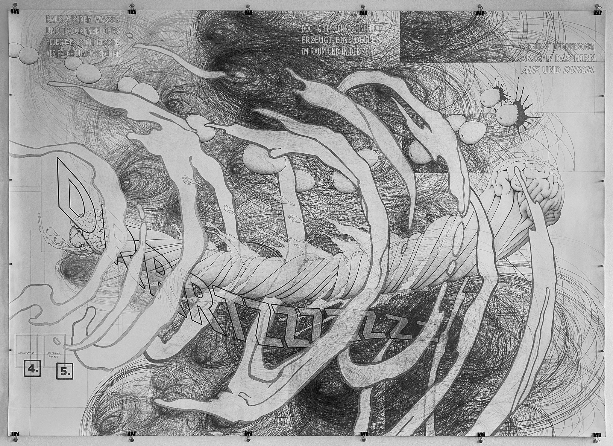 """Tatjana Preuss, """"Auf und Durch"""", 2017, Bleistift/Graphitkreide auf Büttenpapier, 150 x 210 cm, VG Bild-Kunst"""