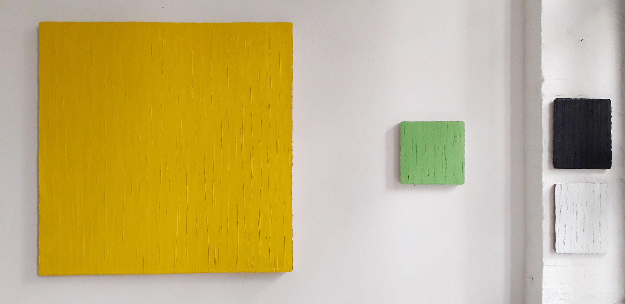 "Christiane Conrad, v. l. ""Rapsgelb"", 2018, Öl auf Leinwand, 120 x 120 cm"