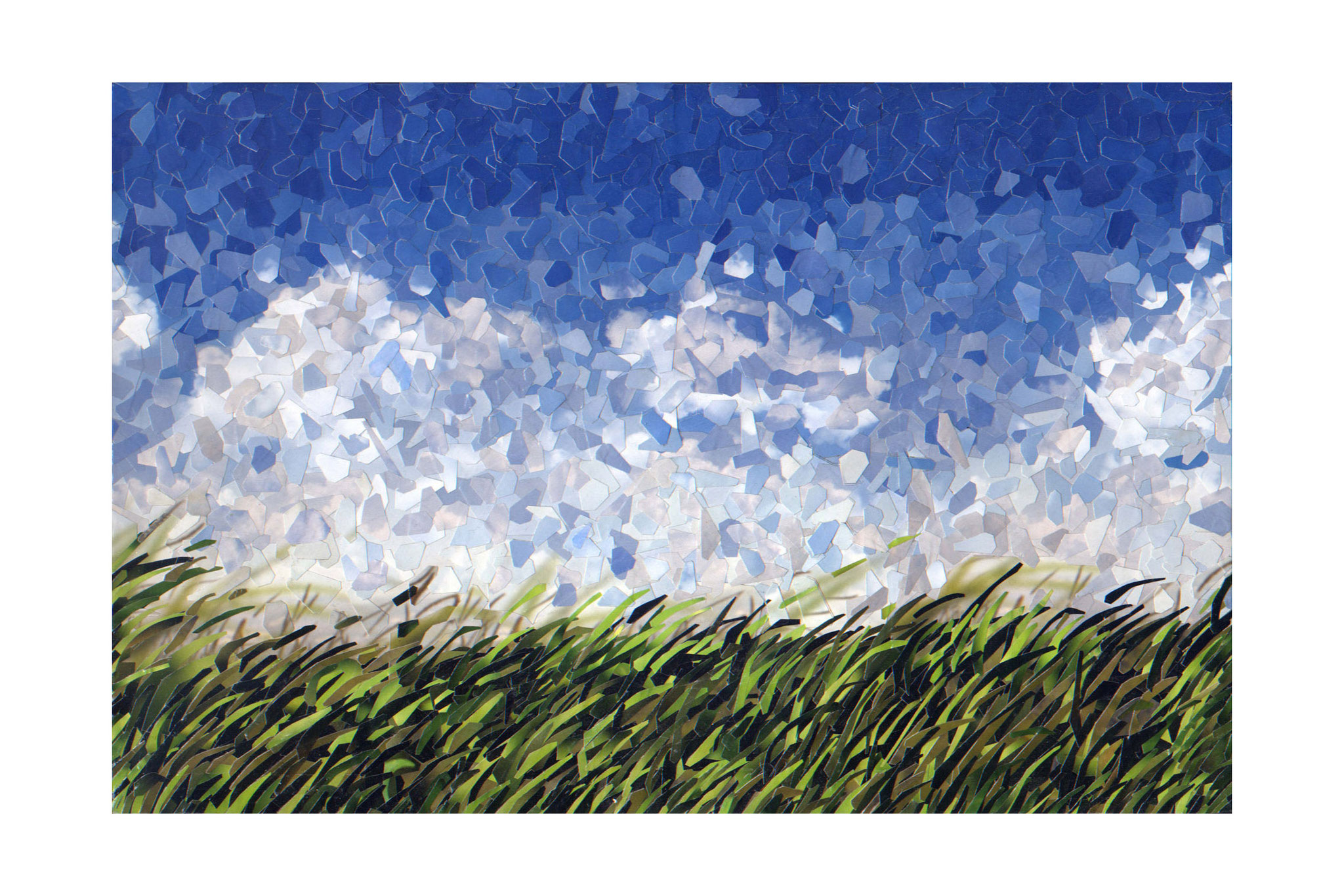 "Frank Bubenzer, ""o.T."" (Wiese), 2020, Collage, 28 x 42 cm"