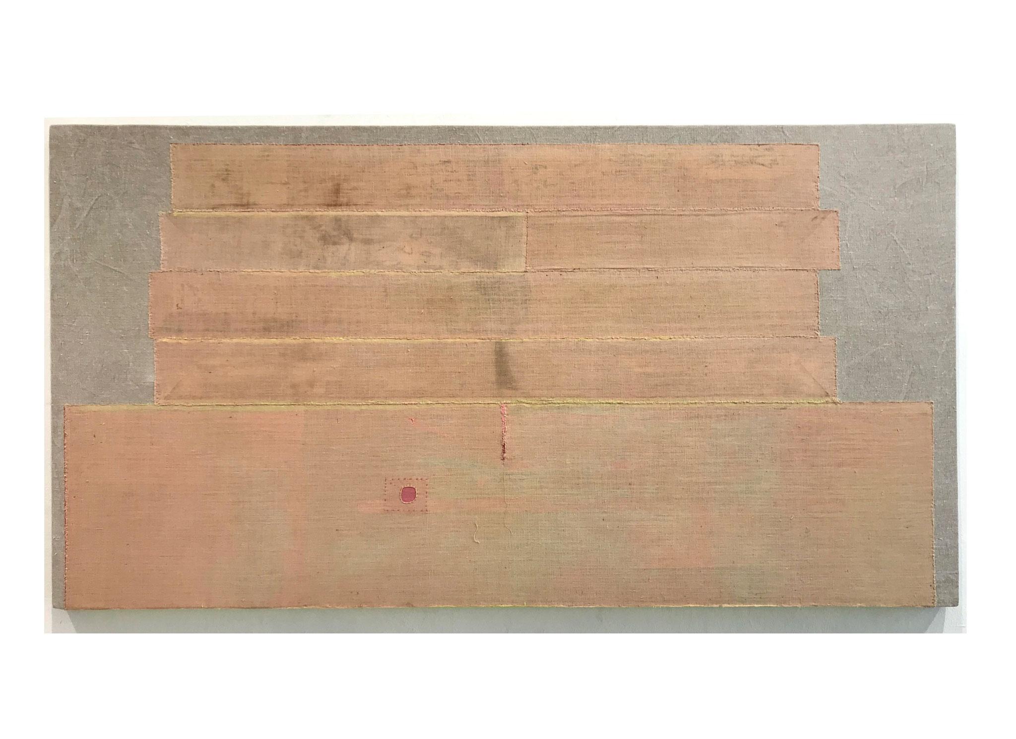 """Uli Fischer, """"FROM THERE TO NOW"""", 2020, historische Baumwolle und Leinen, 78 x 146 cm"""