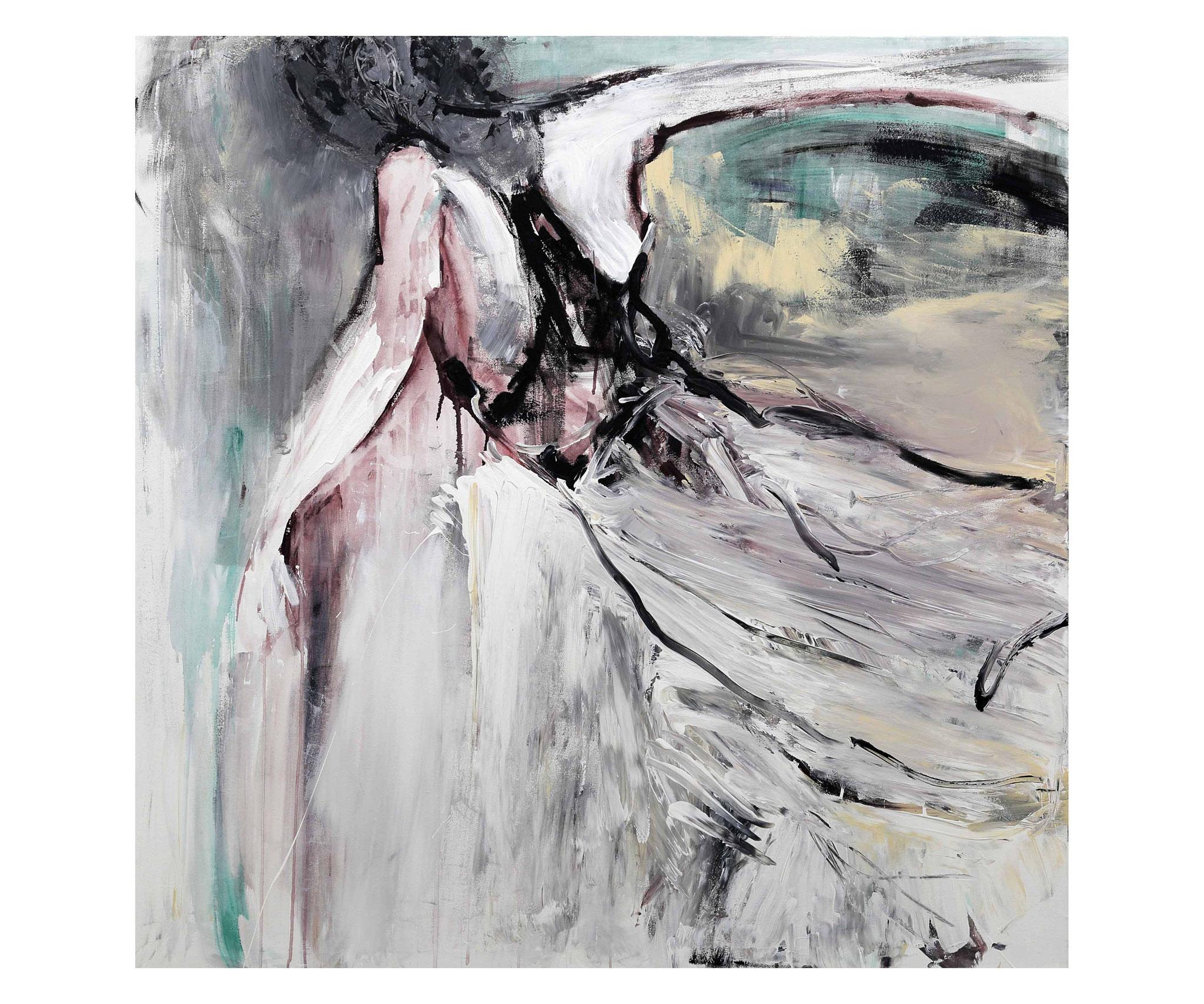 """Franziska Löwe, """"freier fall"""", 2015, Mischtechnik auf Leinwand, 145 x 145 cm"""
