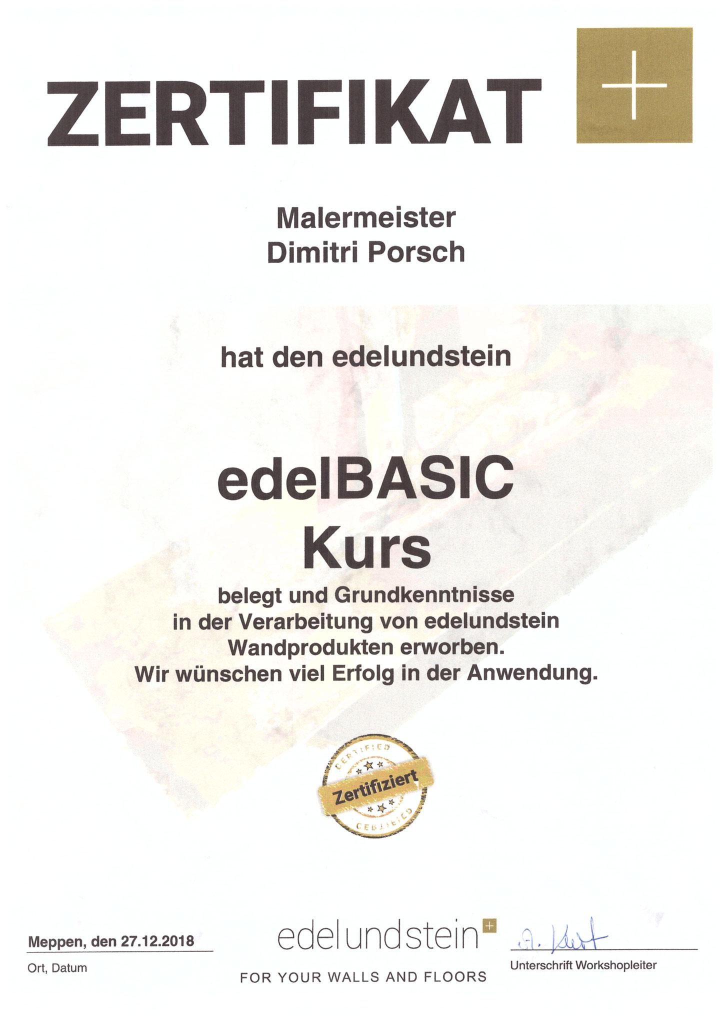 edelBASIC-Kurs, zertifiziert
