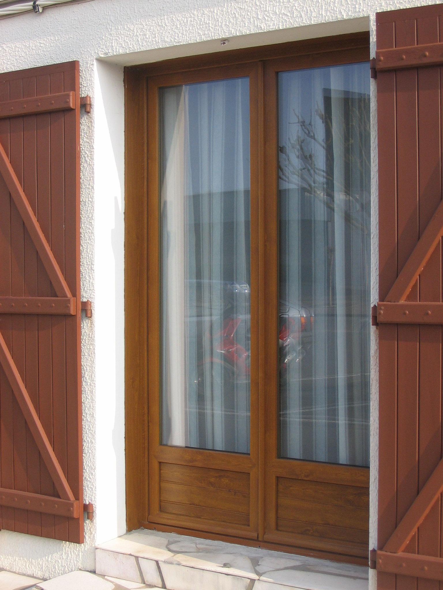 Porte fenêtre plaxé chêne