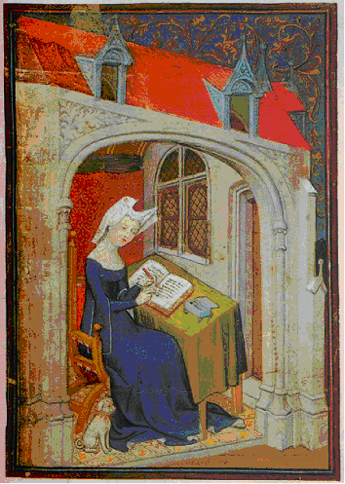 Christine de Pizan (15. Jhd.) an ihrem Schreibtisch