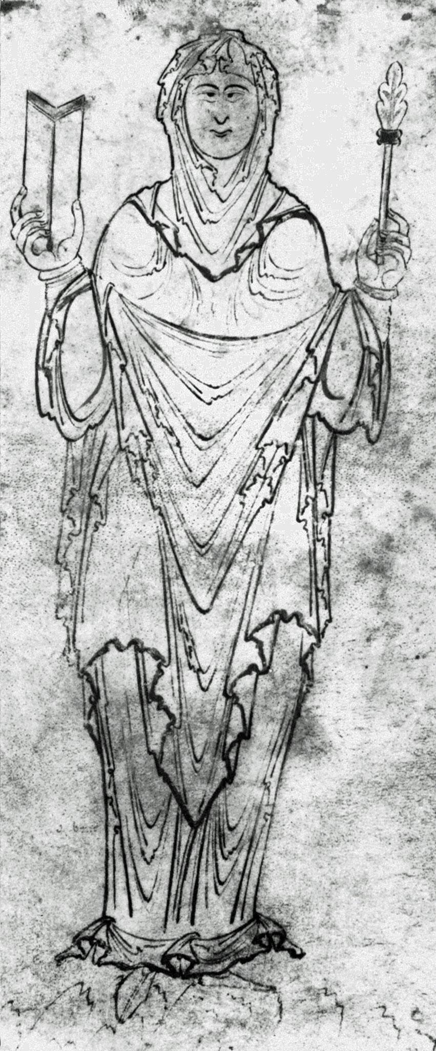 "Lady Philosophy (10. Jhd.) Nach englischem Manuskript von Boethius' ""De Consolatione Philosophiae"""