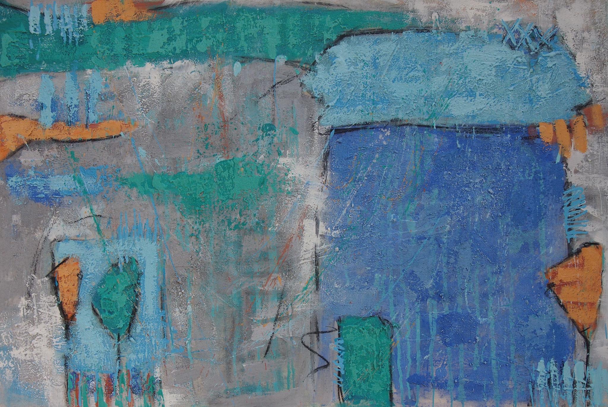 """""""Das Blaue Haus"""" - 120x80x4,5 cm"""