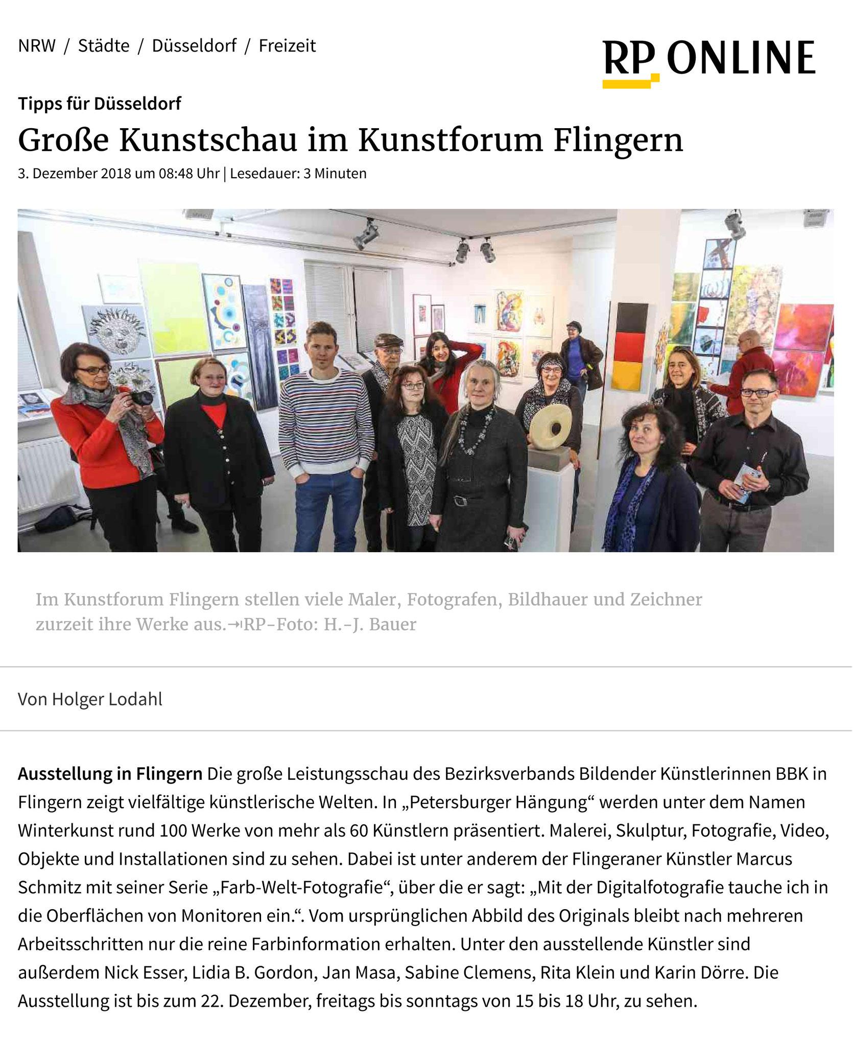 © Rheinische Post, Holger Lodahl (Text), Hans-Jürgen Bauer (Foto), 03.12.2018