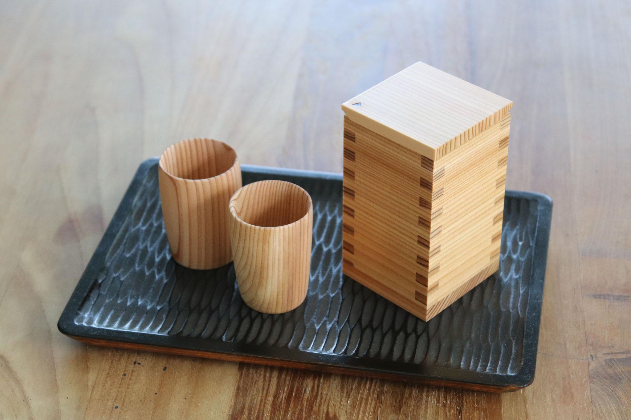 Japanese cedar sake cup